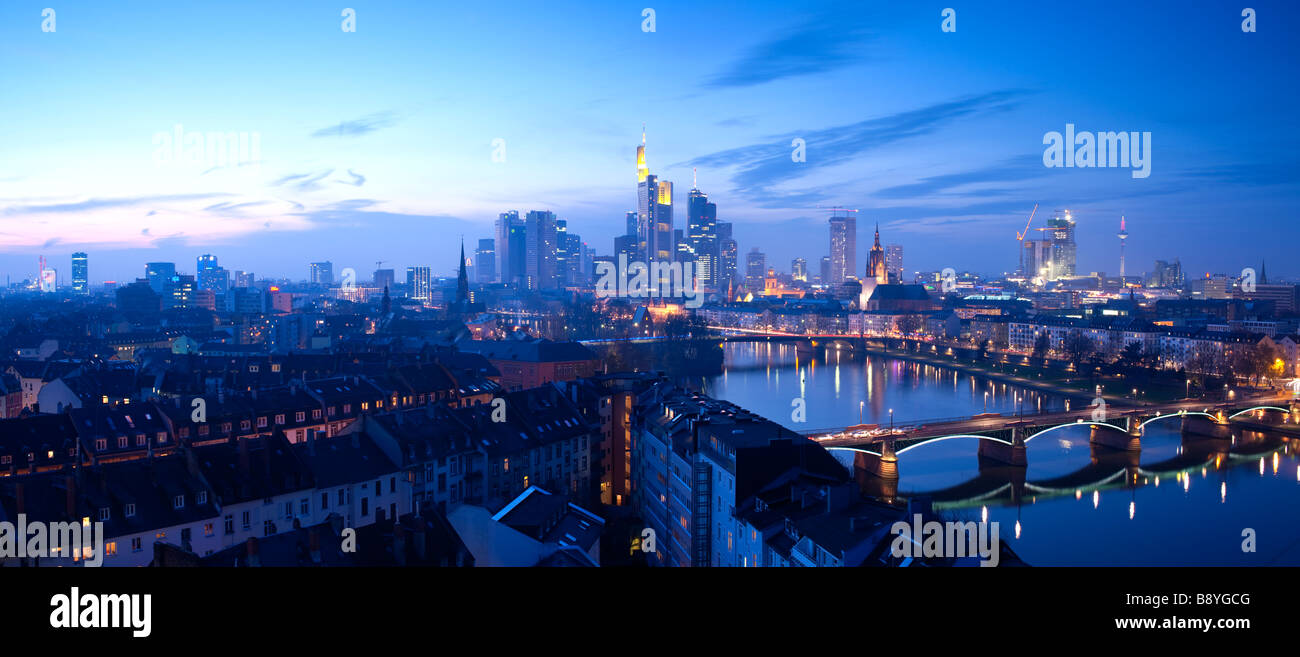 City Skyline Frankfurt Am Main Hessen Germany - Stock Image