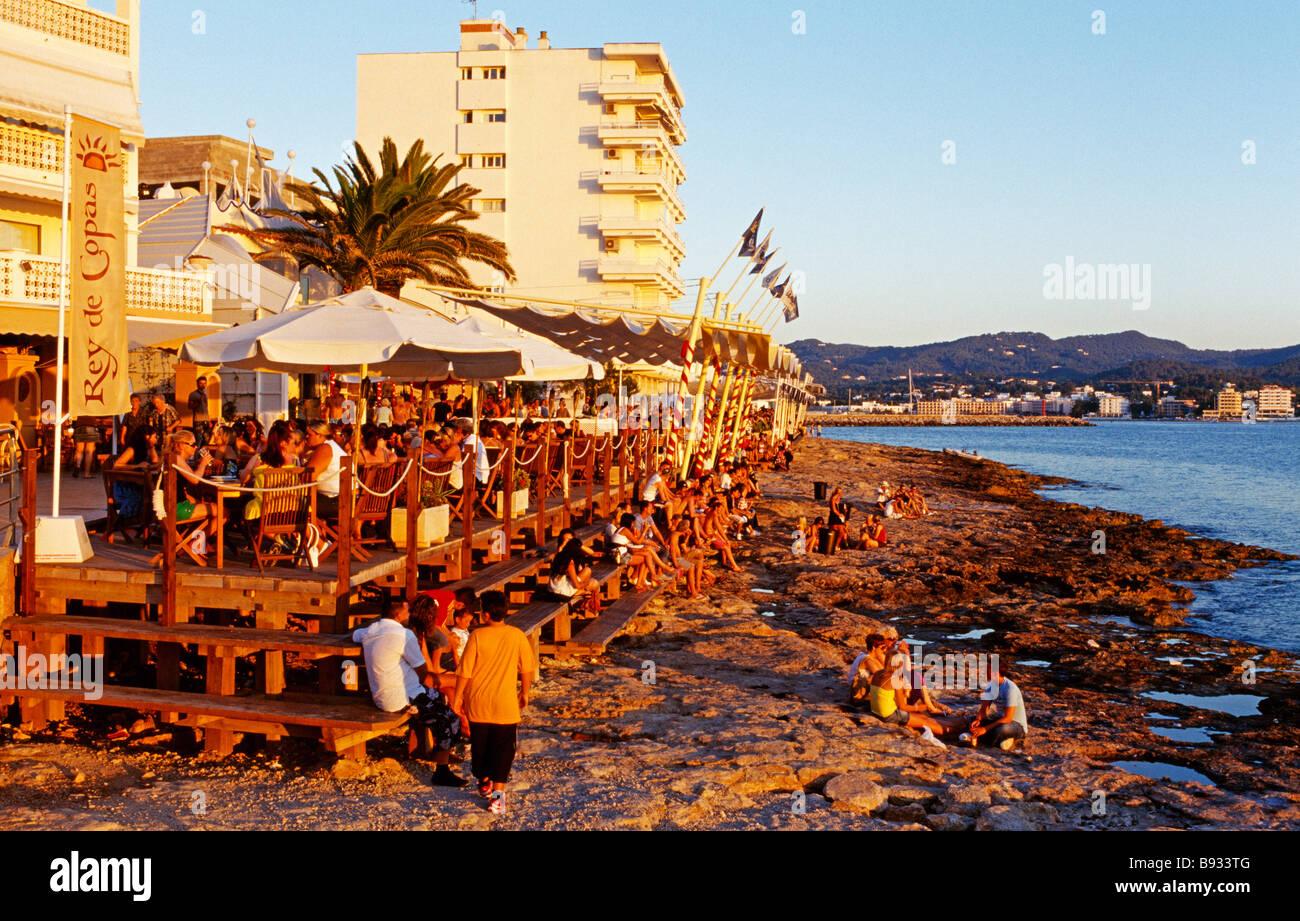 Cafe del Mar in San Antonio Ibiza Balearic Islands Spain Stock Photo