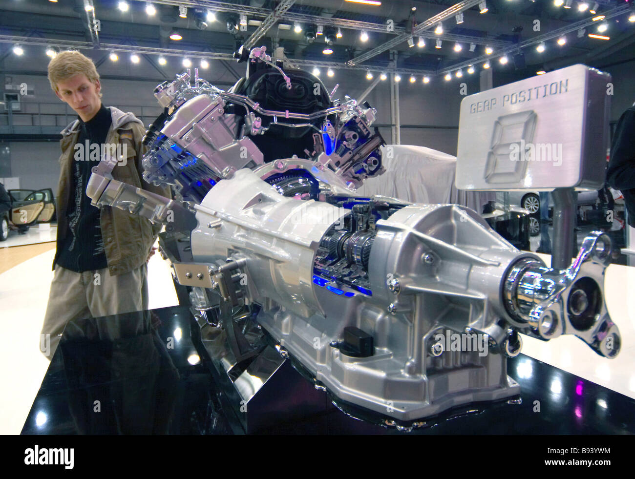 A model of a hybrid engine shown by Lexus at the 15th international exhibition of cars service stations equipment - Stock Image