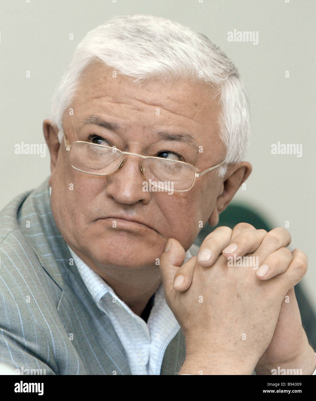 Oleg Demchenko president Irkut Corp at a news conference in Moscow - Stock Image