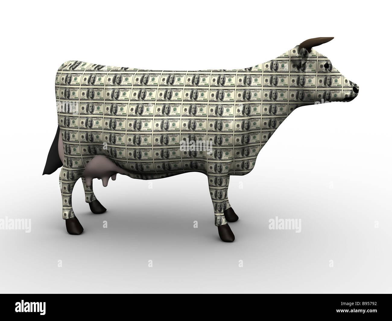 Cash Cow-3D Concept Art - Stock Image