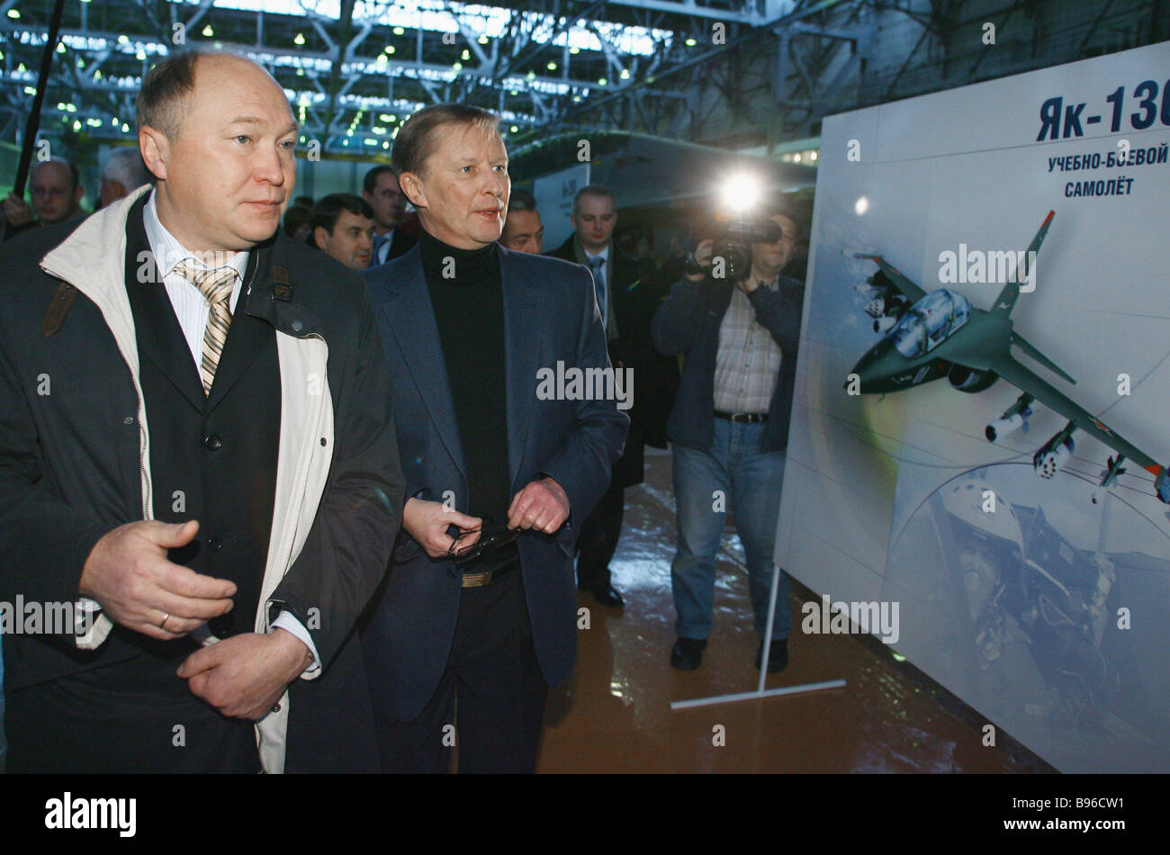 Russia s First Deputy Prime Minister Sergei Ivanov visits final assembly workshop at Irkut Aircraft Plant To the - Stock Image