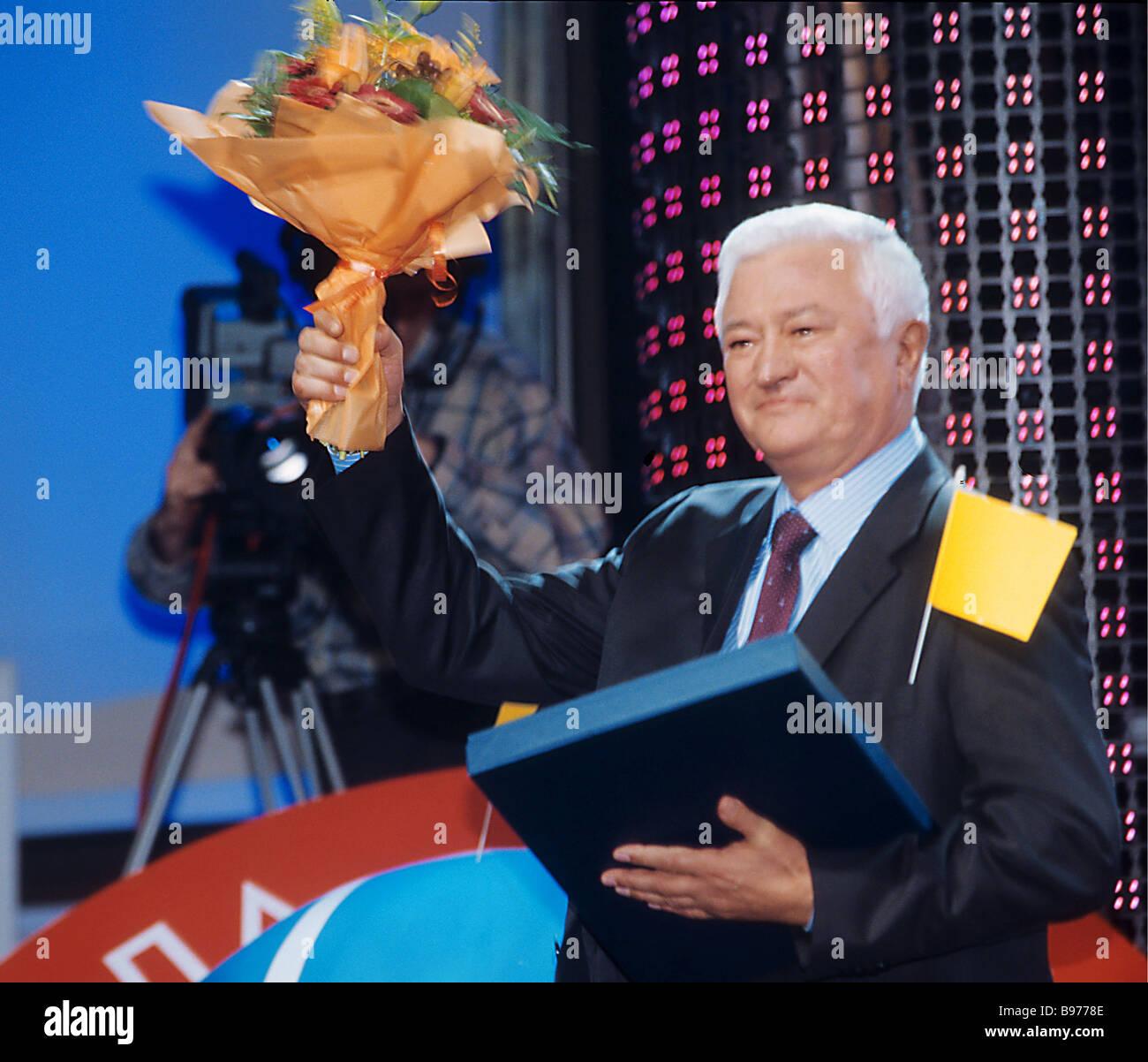 Holder of national business prize The Company of the 2005 Year Oleg Demchenko President of NPK Irkut Co - Stock Image