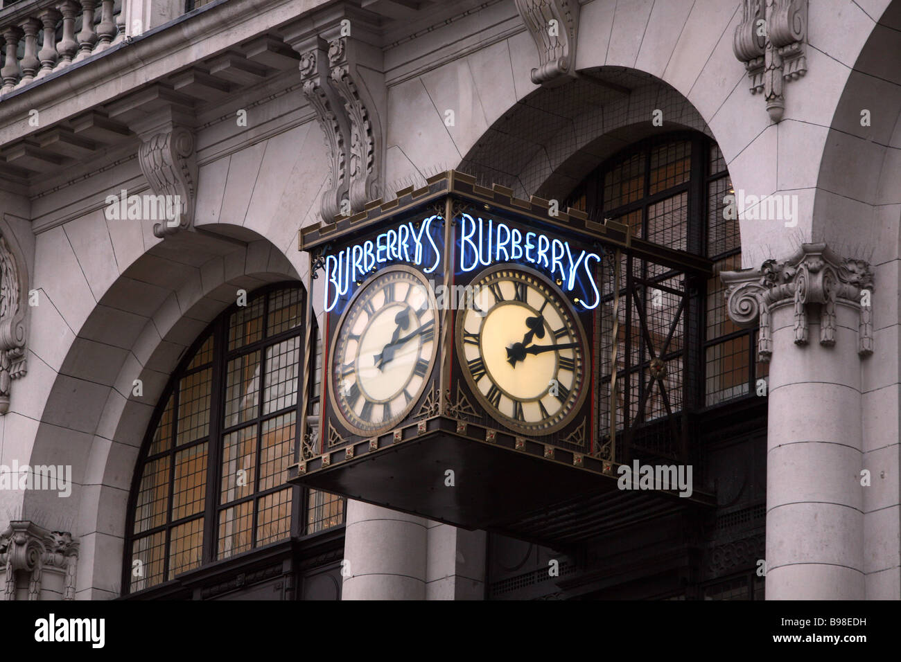 The Clock On The Wall Outside The Burberry Headquarters In Haymarket