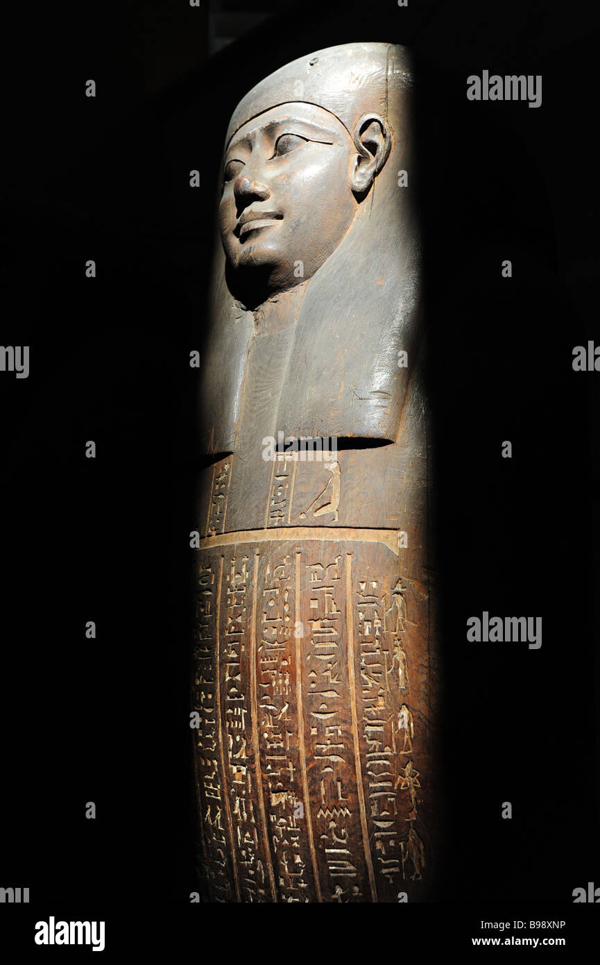 Egypt Cairo The Egyptian Museum interior museum of antiquities and ancient culture view of a wooden coffin in a Stock Photo