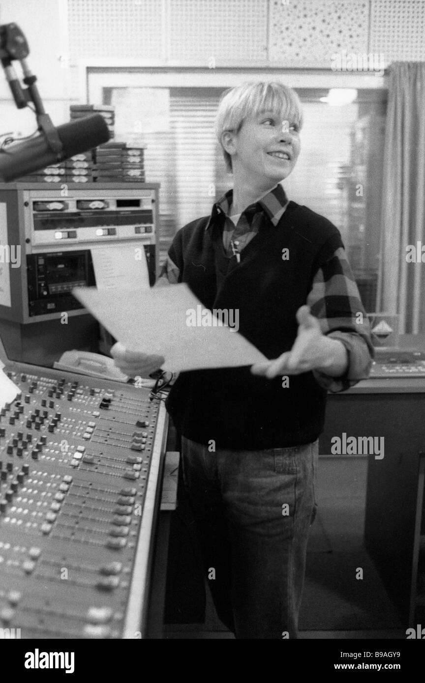 Radio Presenter Kseniya Strizh Preparing Her Next Program At The Europe Plus Radio Station