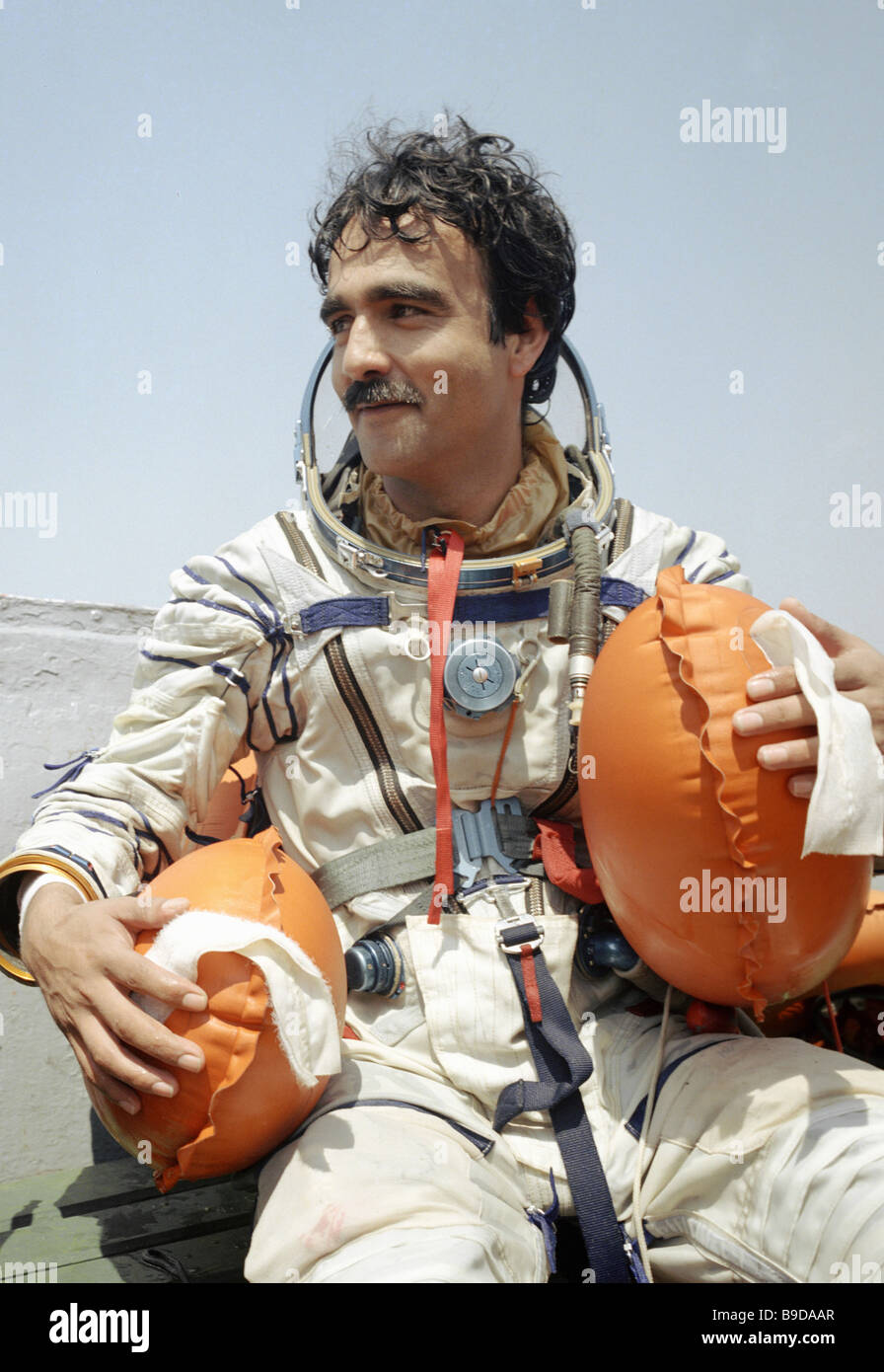 Mission specialist Abdul Ahan Momand during preparations for the first Soviet Afghani joint space mission on Soyuz Stock Photo