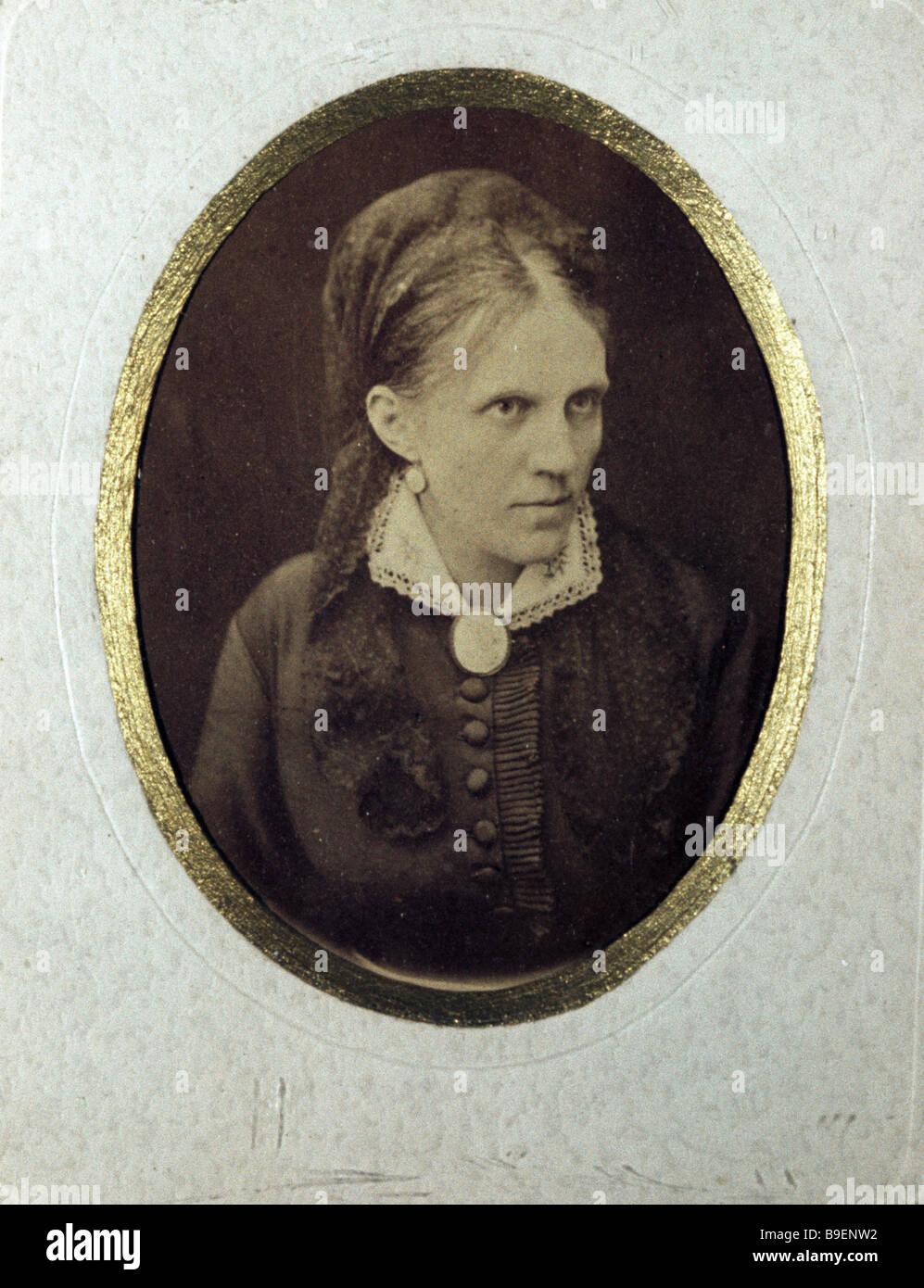 Photograph of Fedor Dostoyevsky s wife Anna Dostoyevskaya from the collection of the Fedor Dostoyevsky Museum Apartment Stock Photo