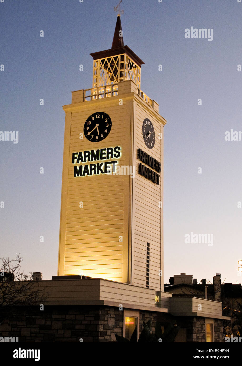 Farmers Market tower at sunset Los Angeles USA Stock Photo