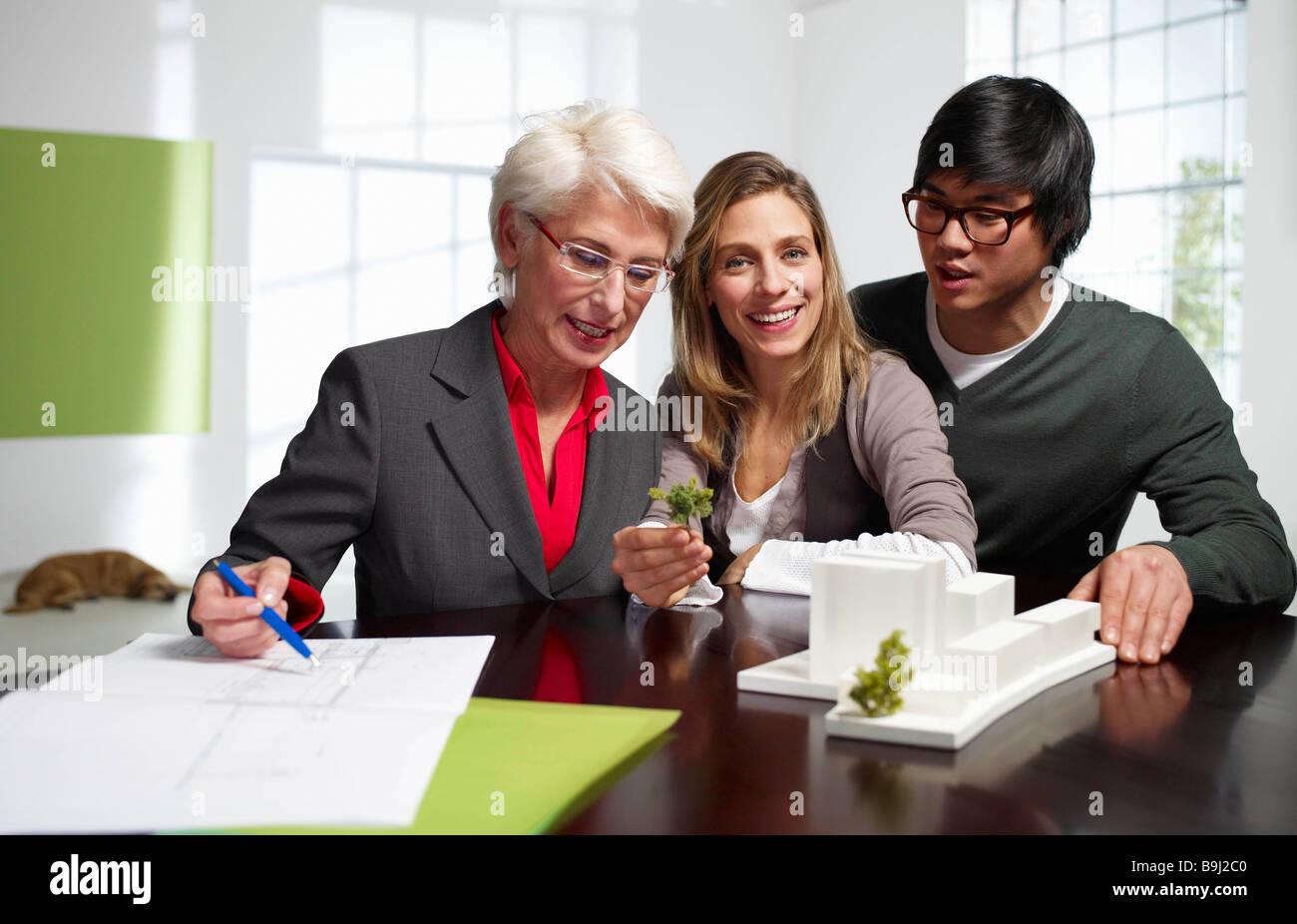 Team of international architects working - Stock Image