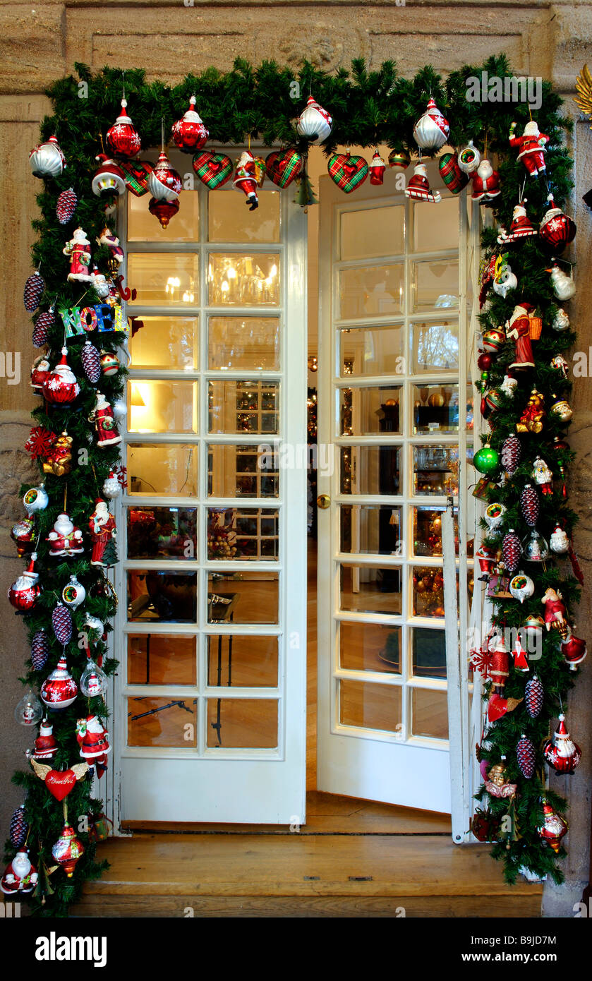 Christmas decoration, doorframe in Christmas adorning in Villa Ambiente, Nuremberg, Middle Franconia, Bavaria, Germany, - Stock Image