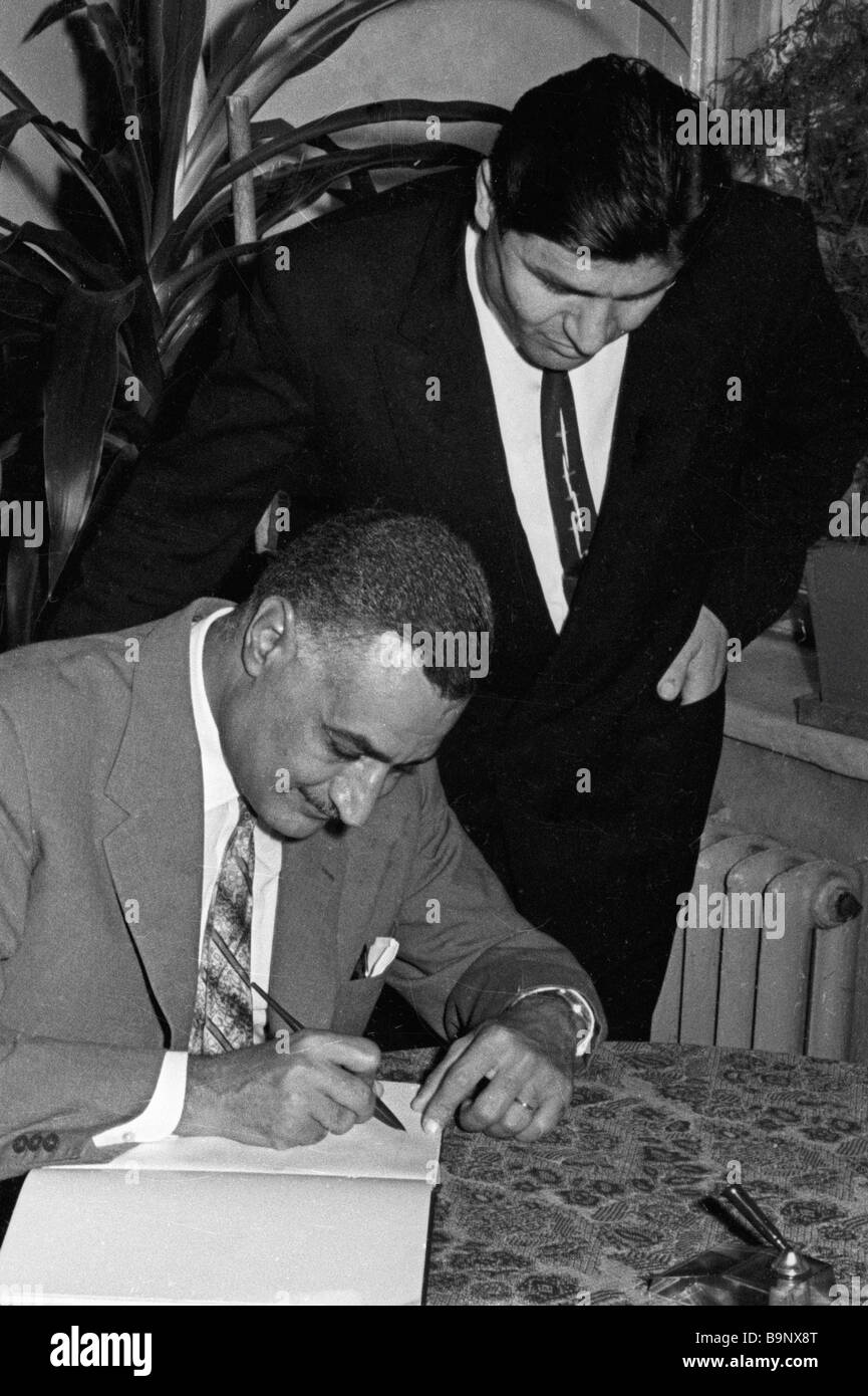 Egypt s President Gamal Abdel Nasser left signs in the Armored Troops Academy Visitors Book - Stock Image