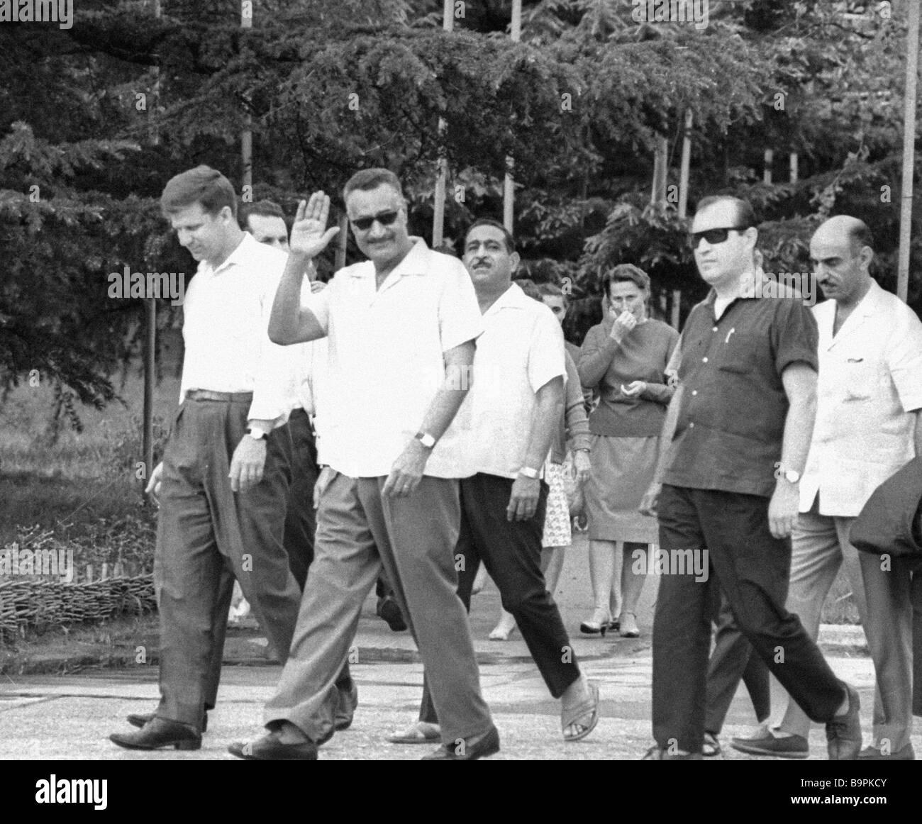 The UAR President Gamal Naser second left at rest in Tskhaltubo - Stock Image