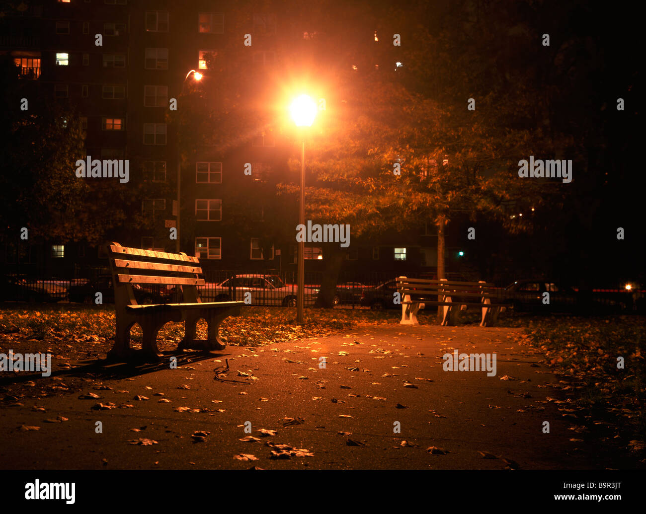 A deserted urban park at night Richard B Levine - Stock Image