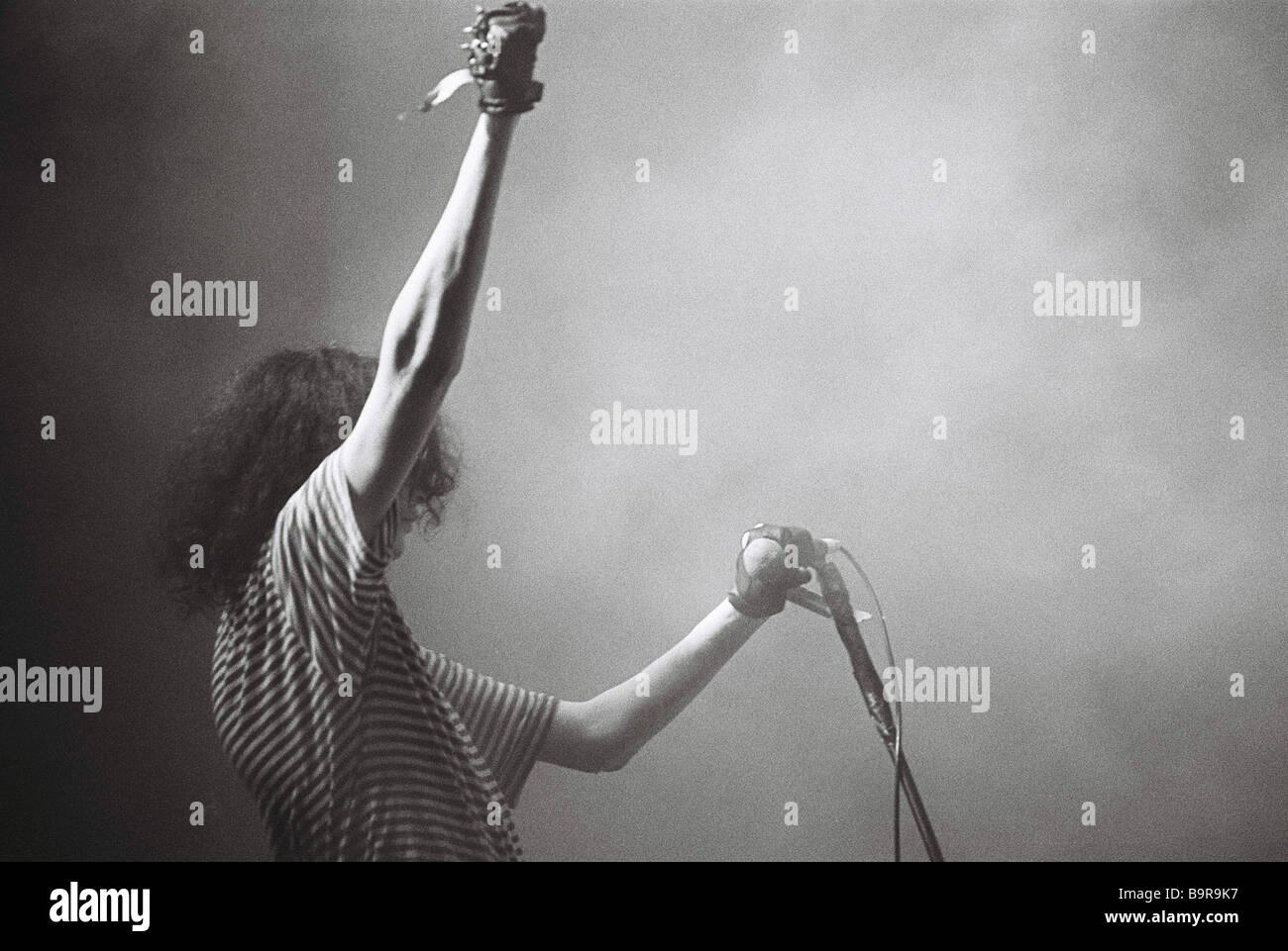 Joey Ramone singer of The Ramones live on stage at the Paradiso club in Amsterdam. 1989 Stock Photo