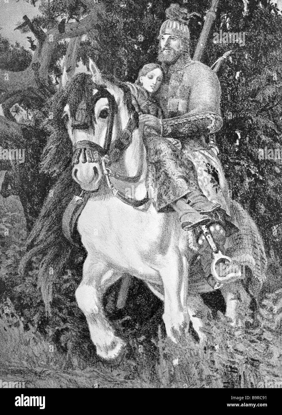 Yevgeny Kibrik An illustration to the Russian folk ballad Dobrynia and the Dragon - Stock Image