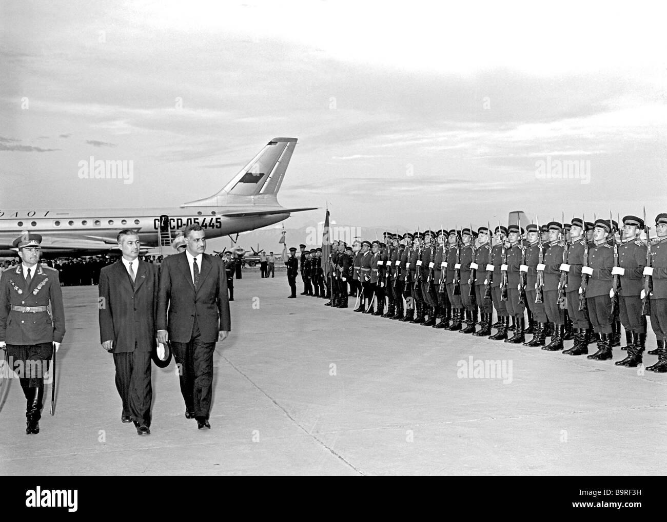 President Gamal Abdel Nasser of Egypt who arrived in Uzbekistan on an official visit and Chairman of the Presidium - Stock Image