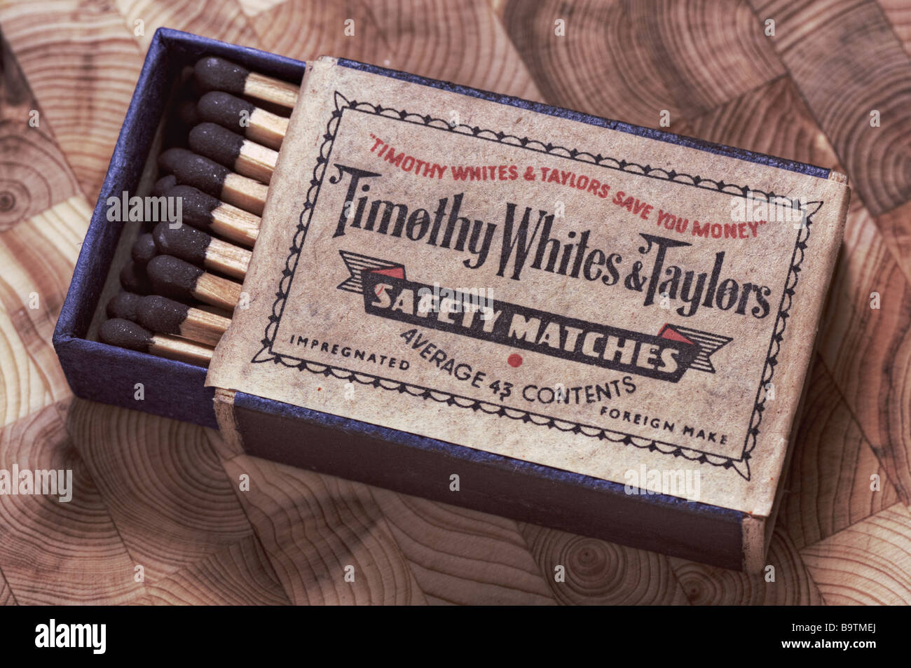 Vintage box of safety matches from 1960's Stock Photo