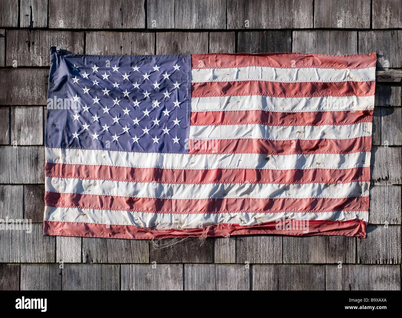 Worn American flag - Stock Image