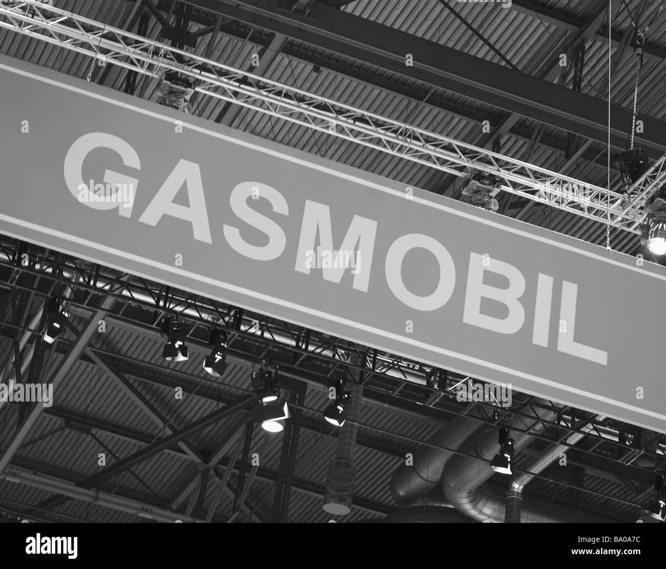 Signage advertising zero emission, hybrid vehicle alternative fuel - Stock Image