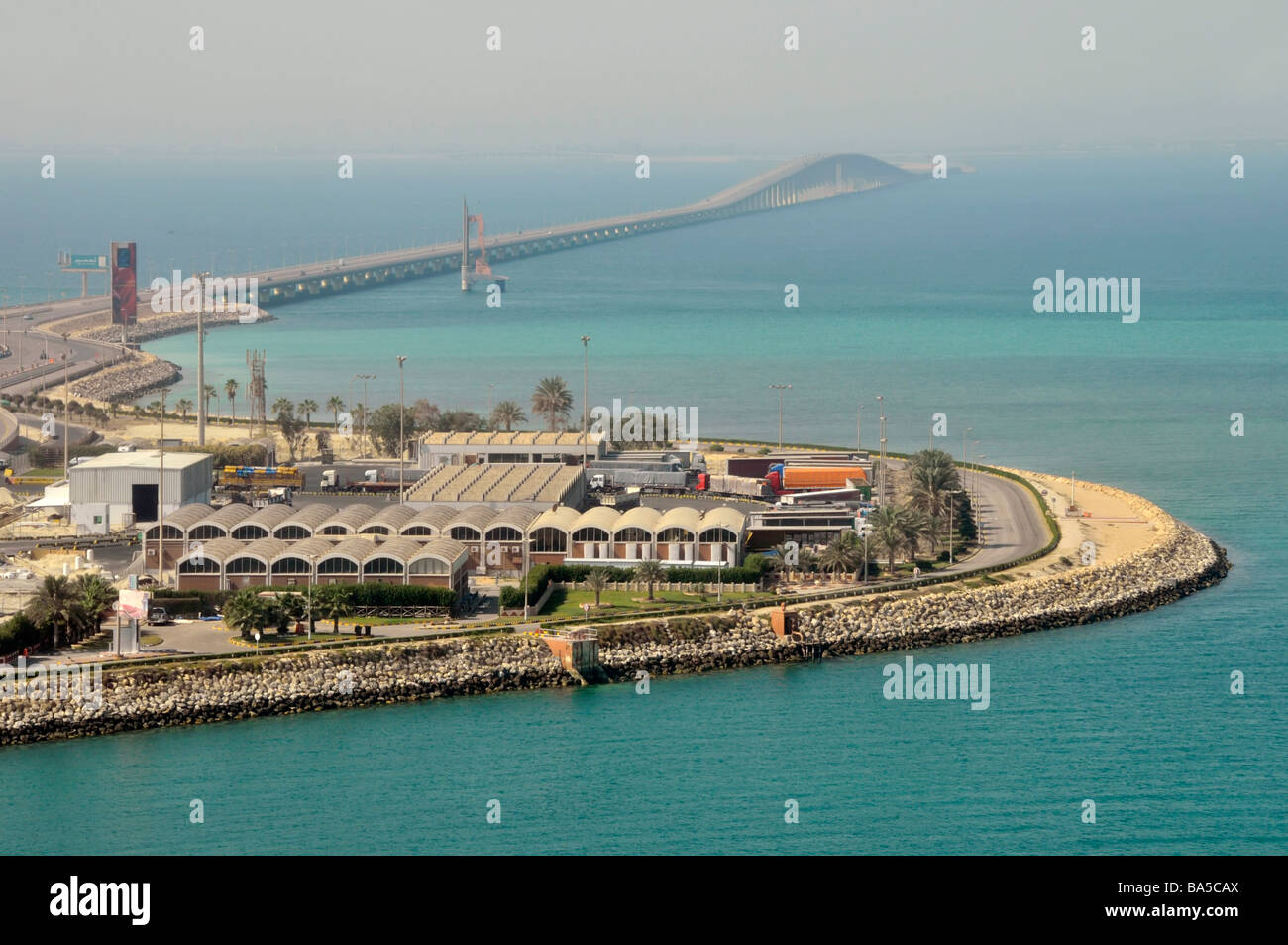 King Fahd Causeway linking Bahrain and Saudi Arabia Persian Gulf view towards Saudi Arabia from approx 'mid - Stock Image