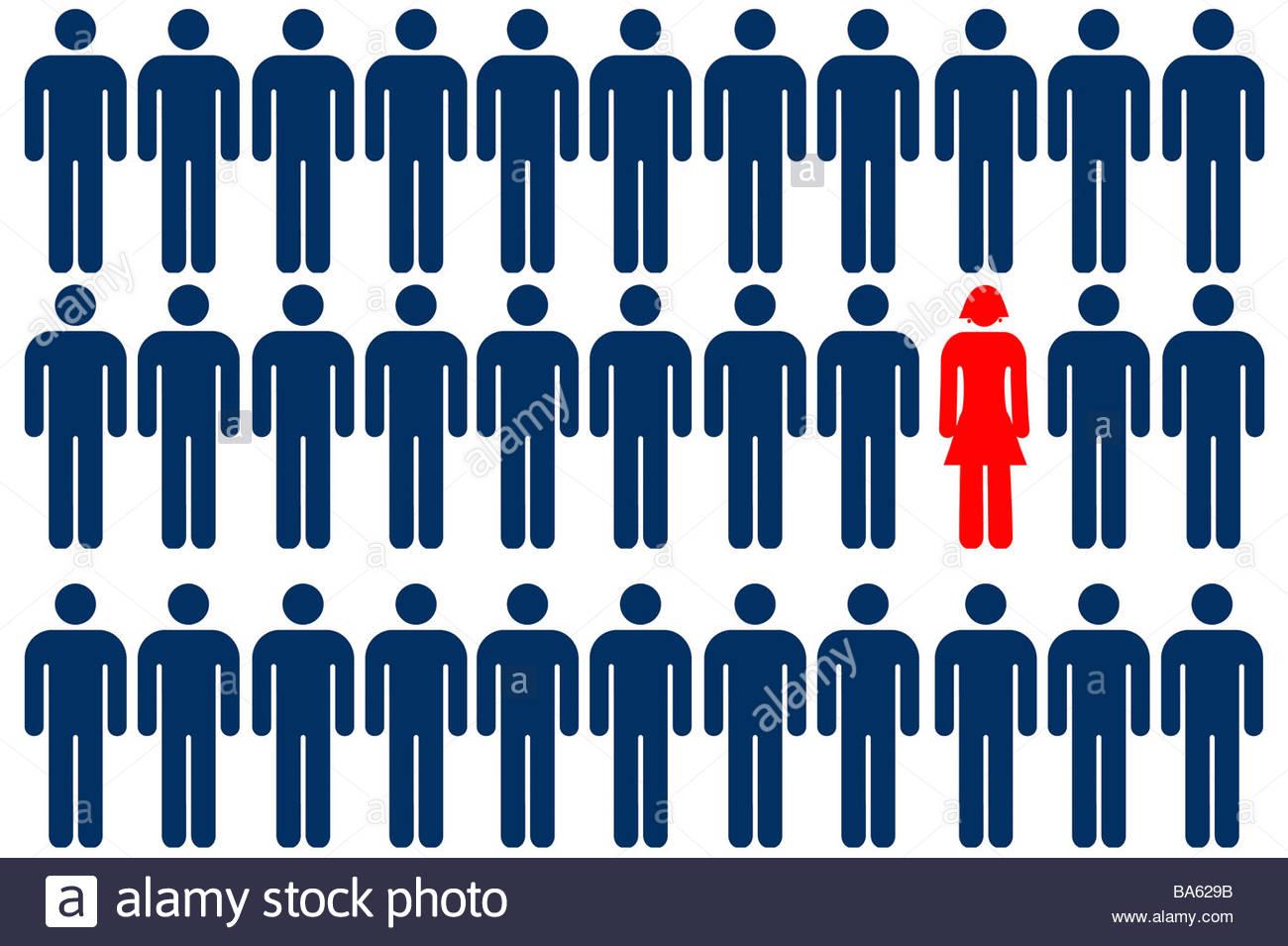 Unique female person symbol among group of male person symbols - Stock Image