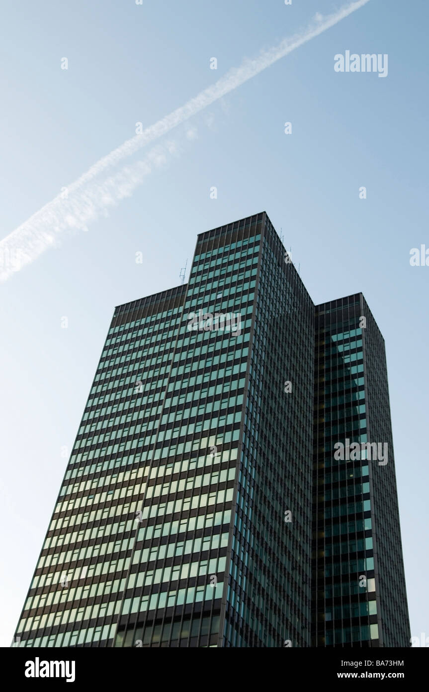 London skyscraper, architecture office tall glass building with blue sky background, daytime, UK, England, Europe, - Stock Image