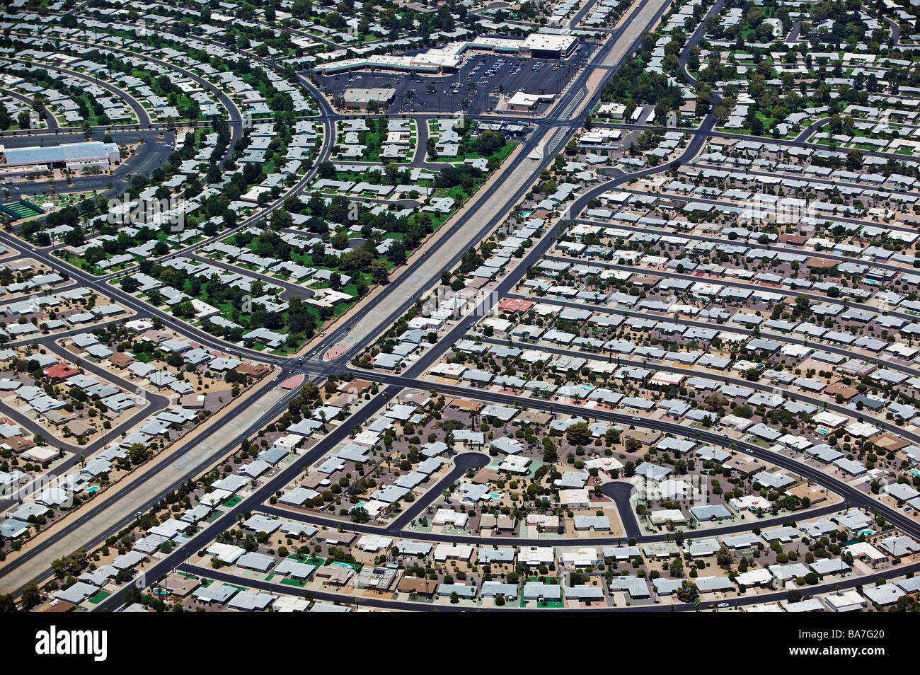 aerial view above real estate property development Phoenix Arizona - Stock Image