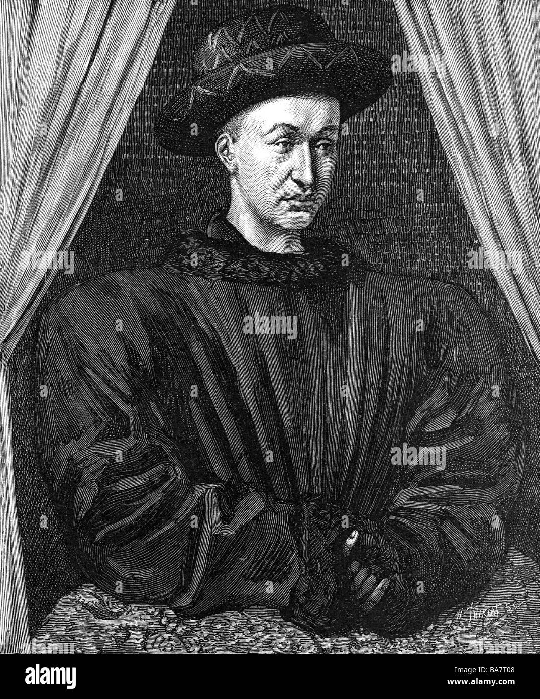 "Charles VII ""the Victorious"", 22.2.1403 - 22.7.1461, King of France 1422 -  1461, half length, wood engraving after contemporary painting, ..."