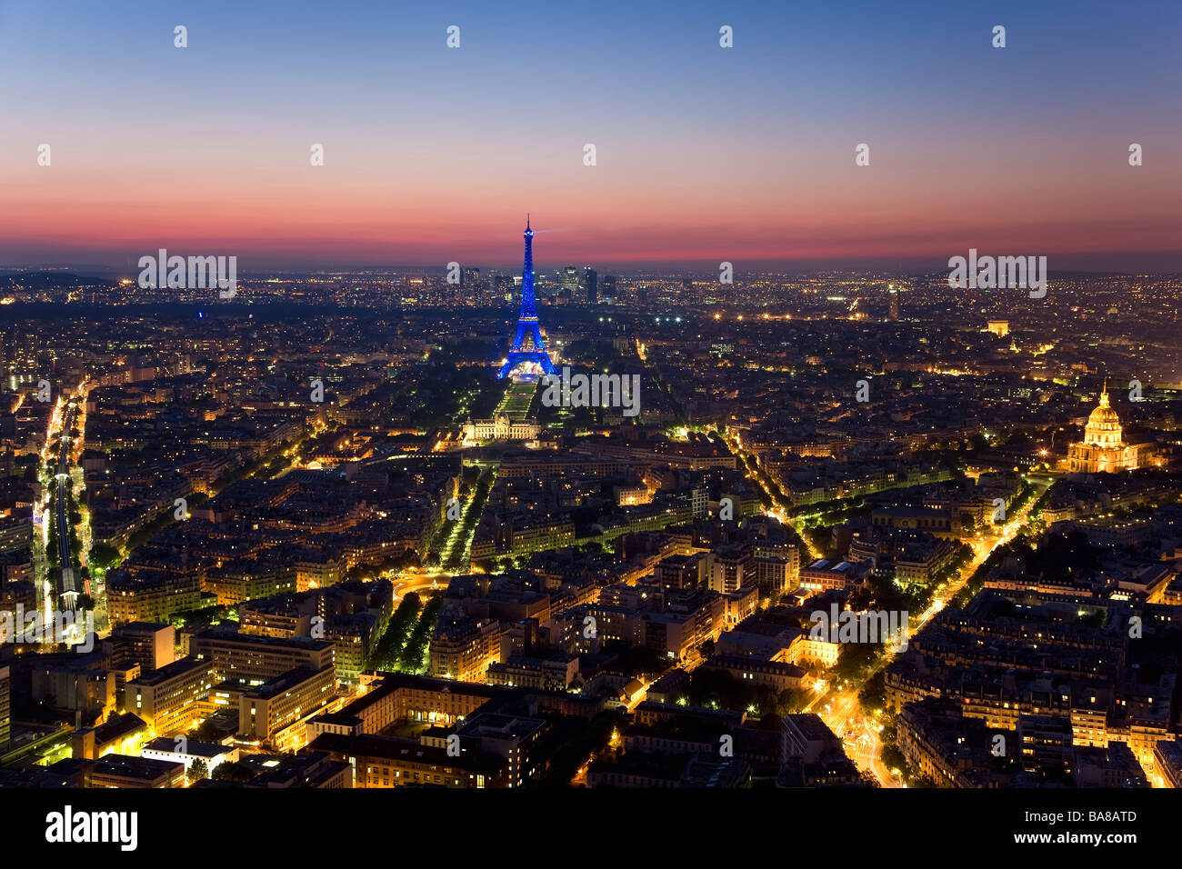 View over Eiffel Tower Paris France - Stock Image