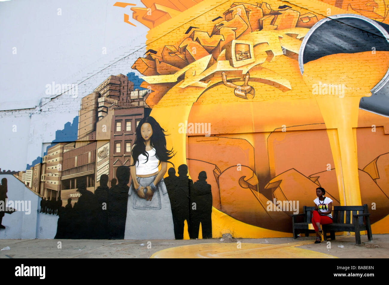Mural Newtown Johannesburg South Africa - Stock Image