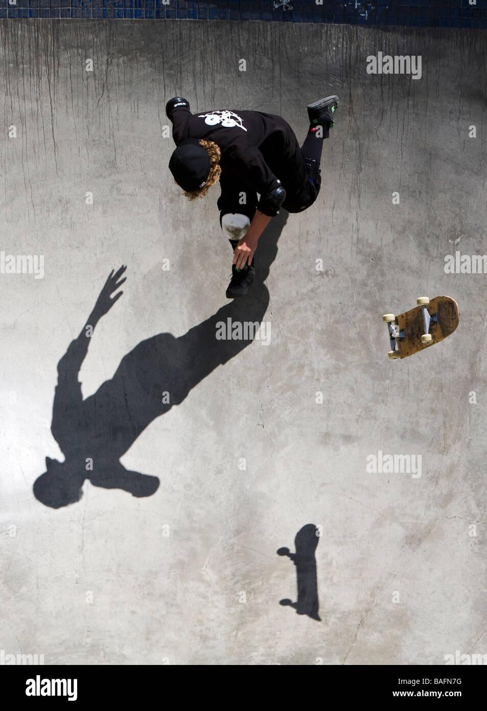 Skateboarder doing tricks Culver City Skateboard Park Culver City Los Angeles County California United States of Stock Photo