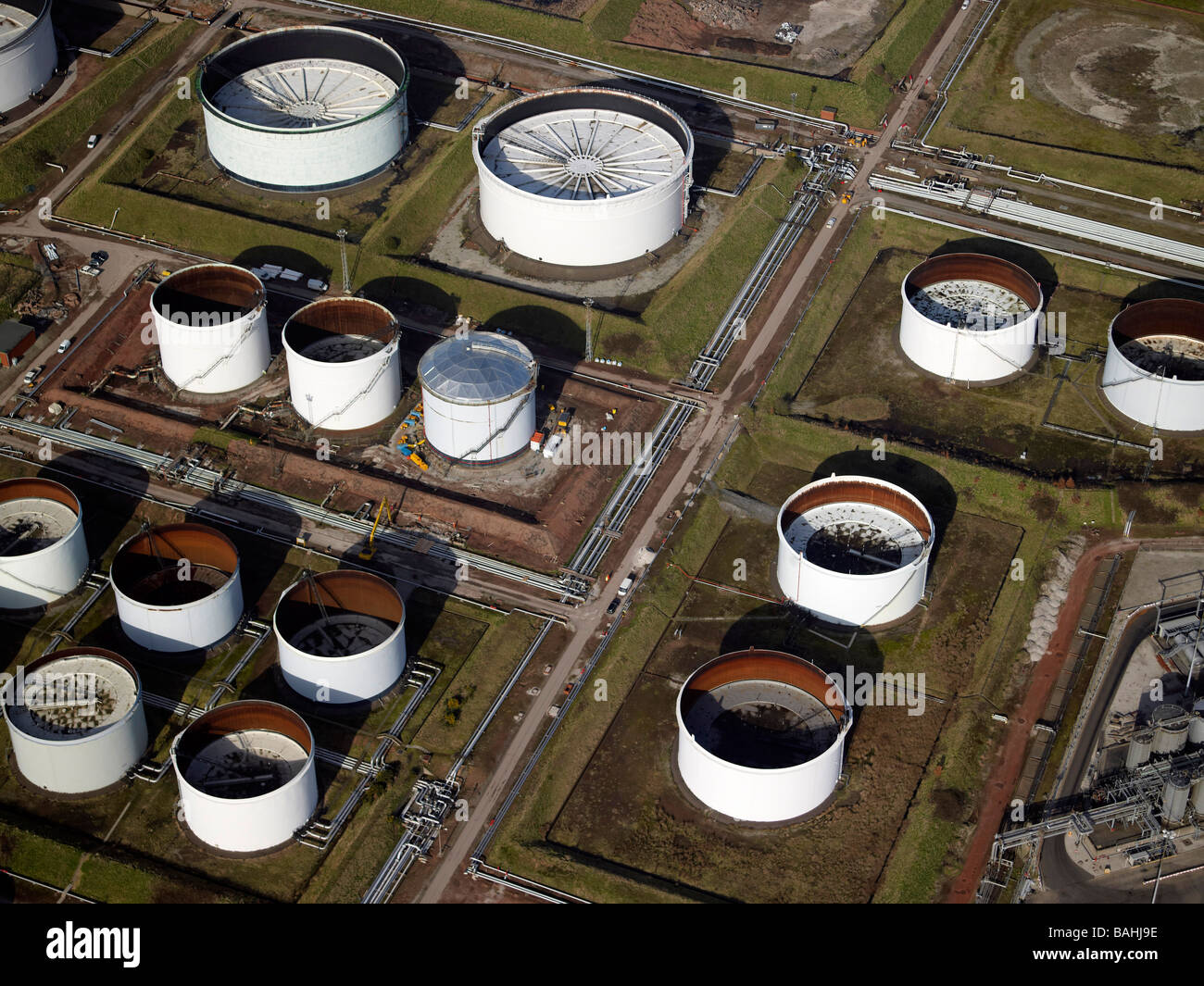 Oil Storage Tanks, Oil refinary, Stanlow, North West England - Stock Image