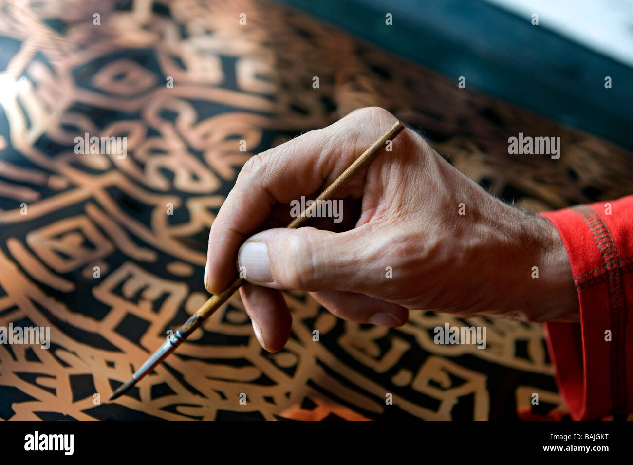France, Yonne, Parly, the center of graphic art, artist Speedy Graphito in the lithography studio - Stock Image