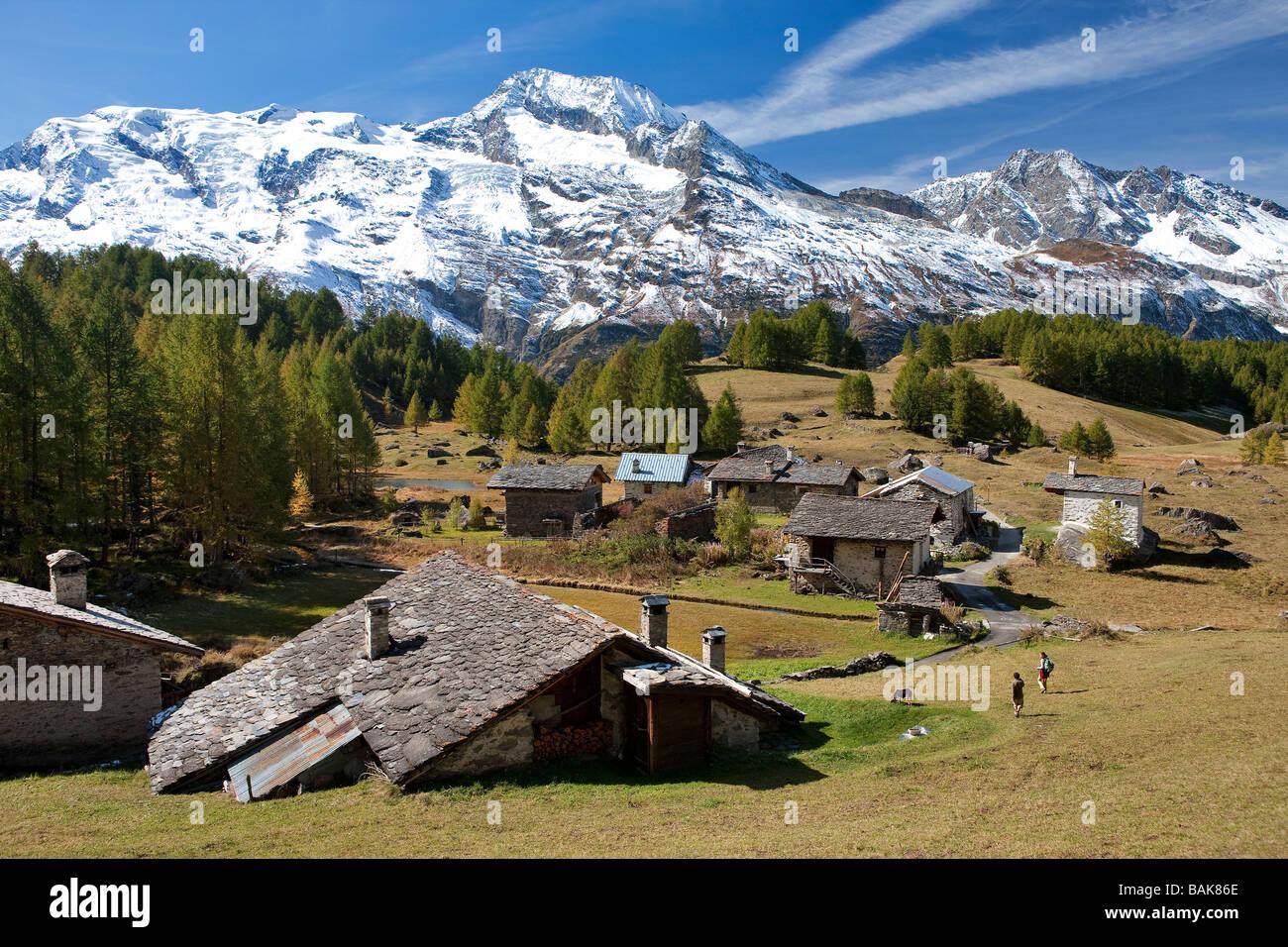 France, Savoie, Haute Tarentaise, Le Monal hamlet (1874m) dominated ...