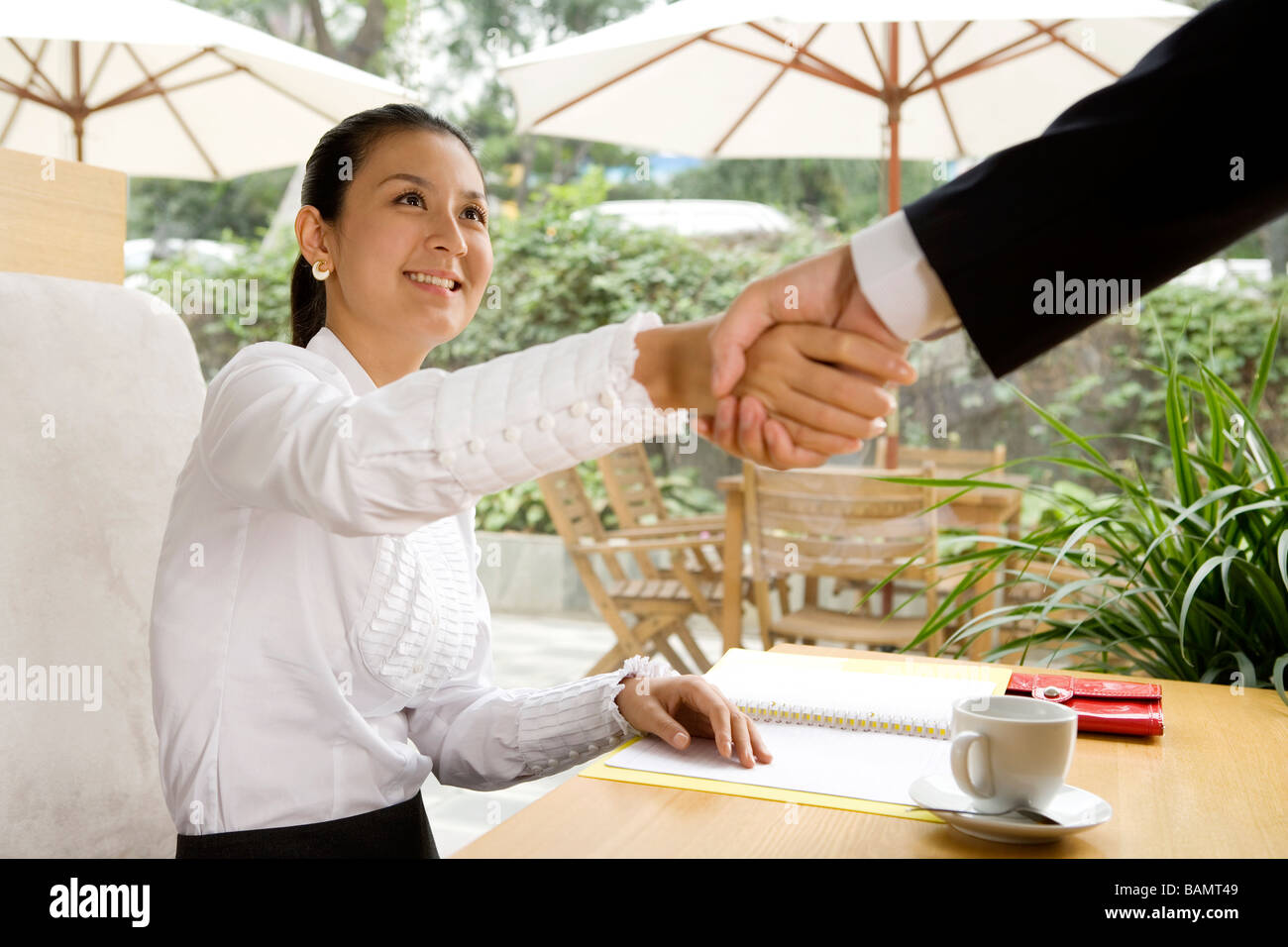 Businesswoman Meeting Businessman At Cafe - Stock Image
