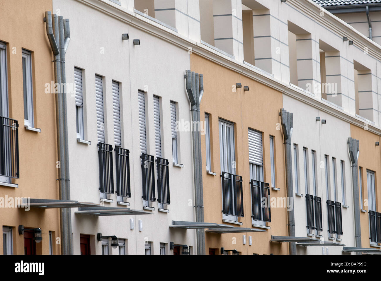 Newly built social housing development with geothermal energy heating, Cologne, North Rhine-Westphalia, Germany. - Stock Image