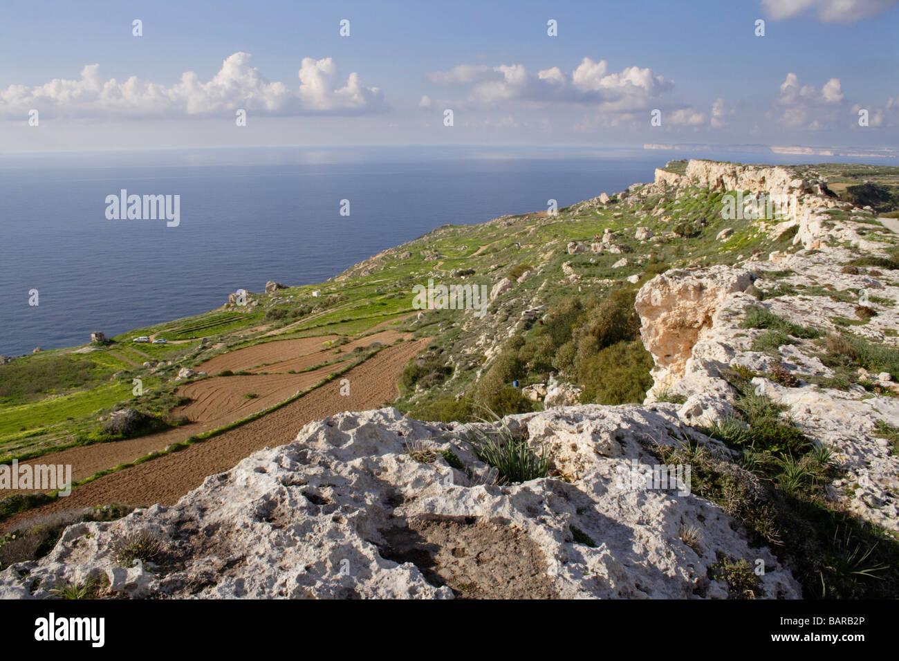 Limestone ridge on the north-west coast of Malta, a Mediterranean island - Stock Image
