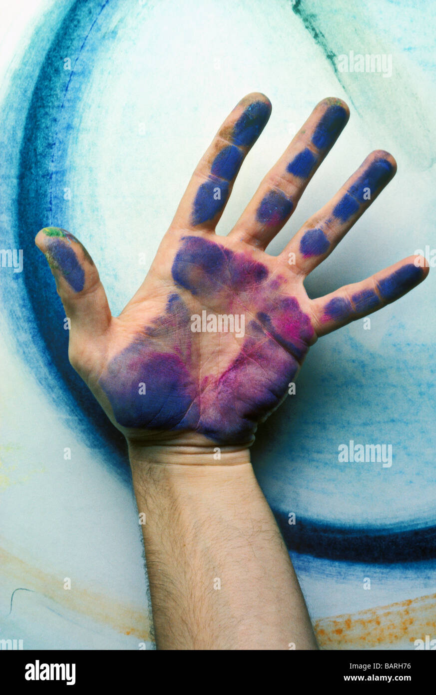 Man s hand with chalk on it - Stock Image