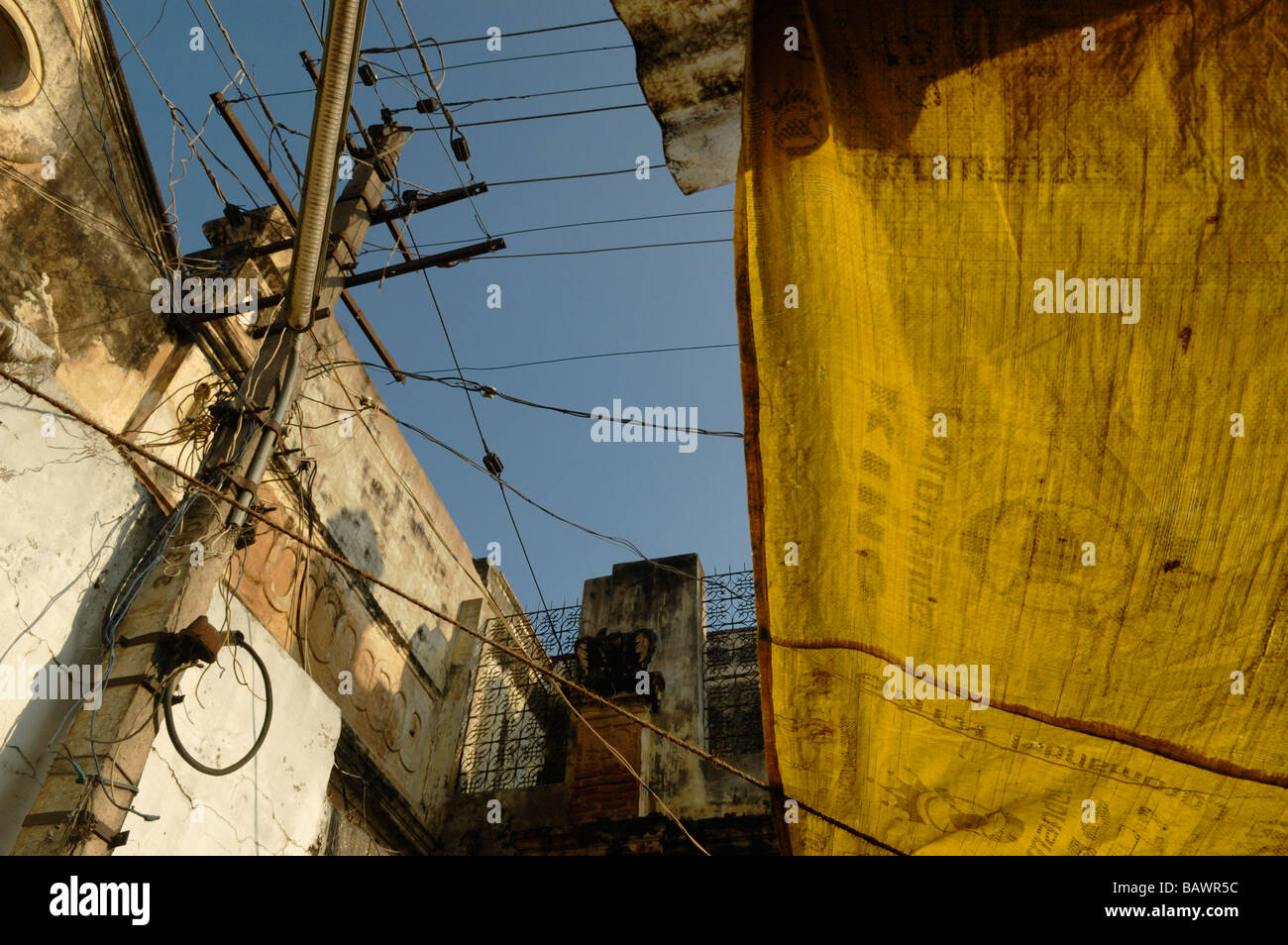 India, Karnataka, Mysore. Typical indian style electrical wiring and ...