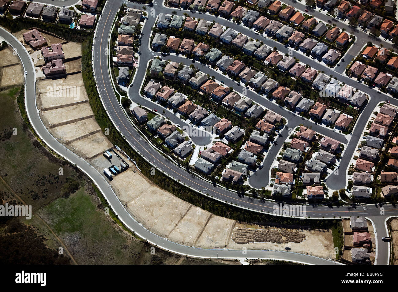 aerial view above southern California residential development subdivision - Stock Image