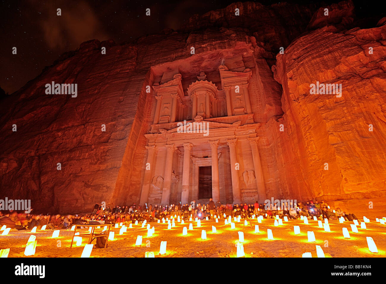 Petra by candle light Stock Photo