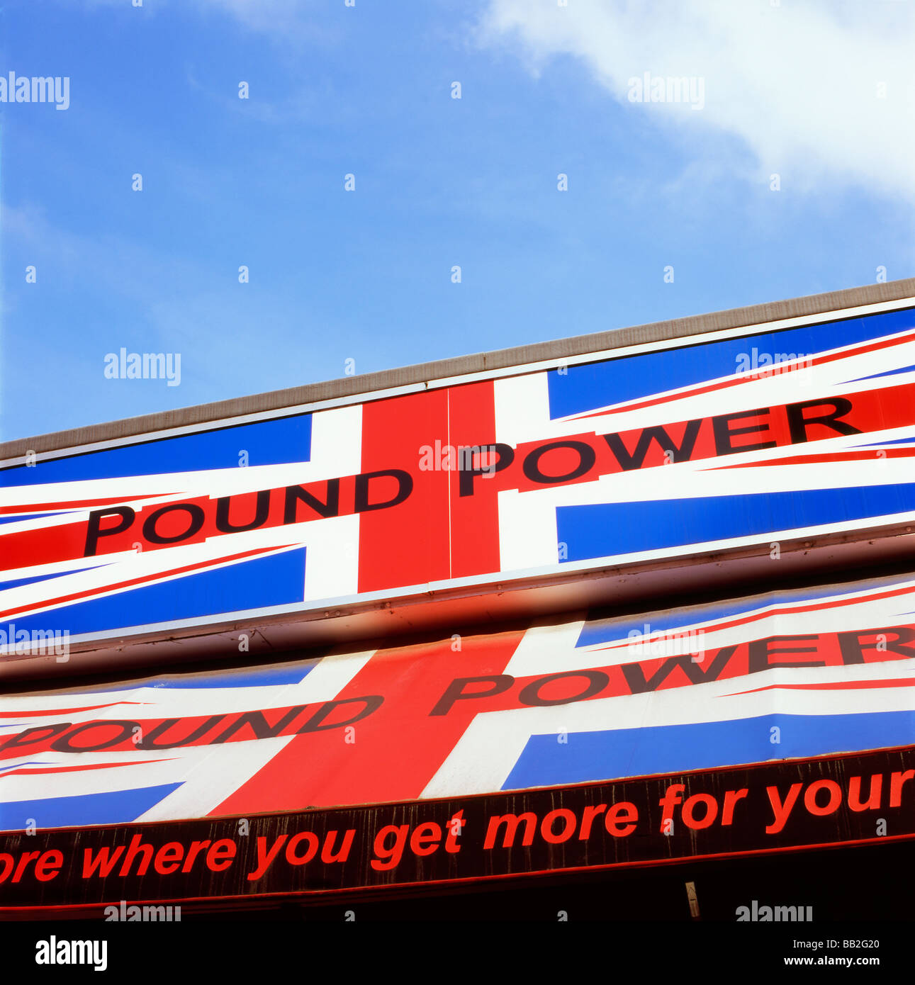 Pound Power strong sterling sign on a high street shop store advertisement ad advert London England UK  KATHY DEWITT - Stock Image