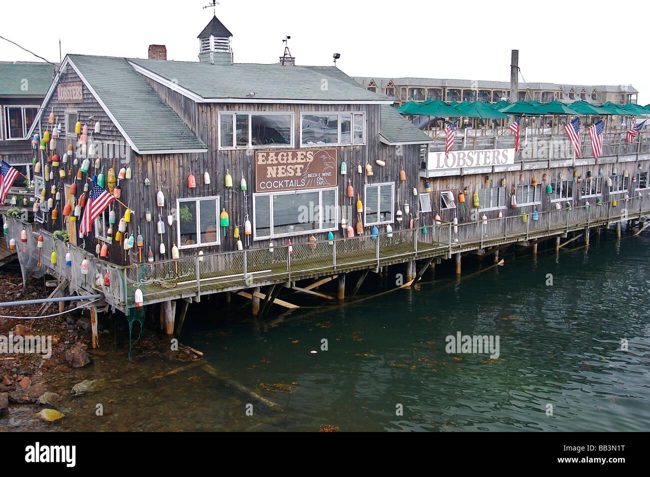 North America Usa Maine Bar Harbor A Seafood Restaurant On The