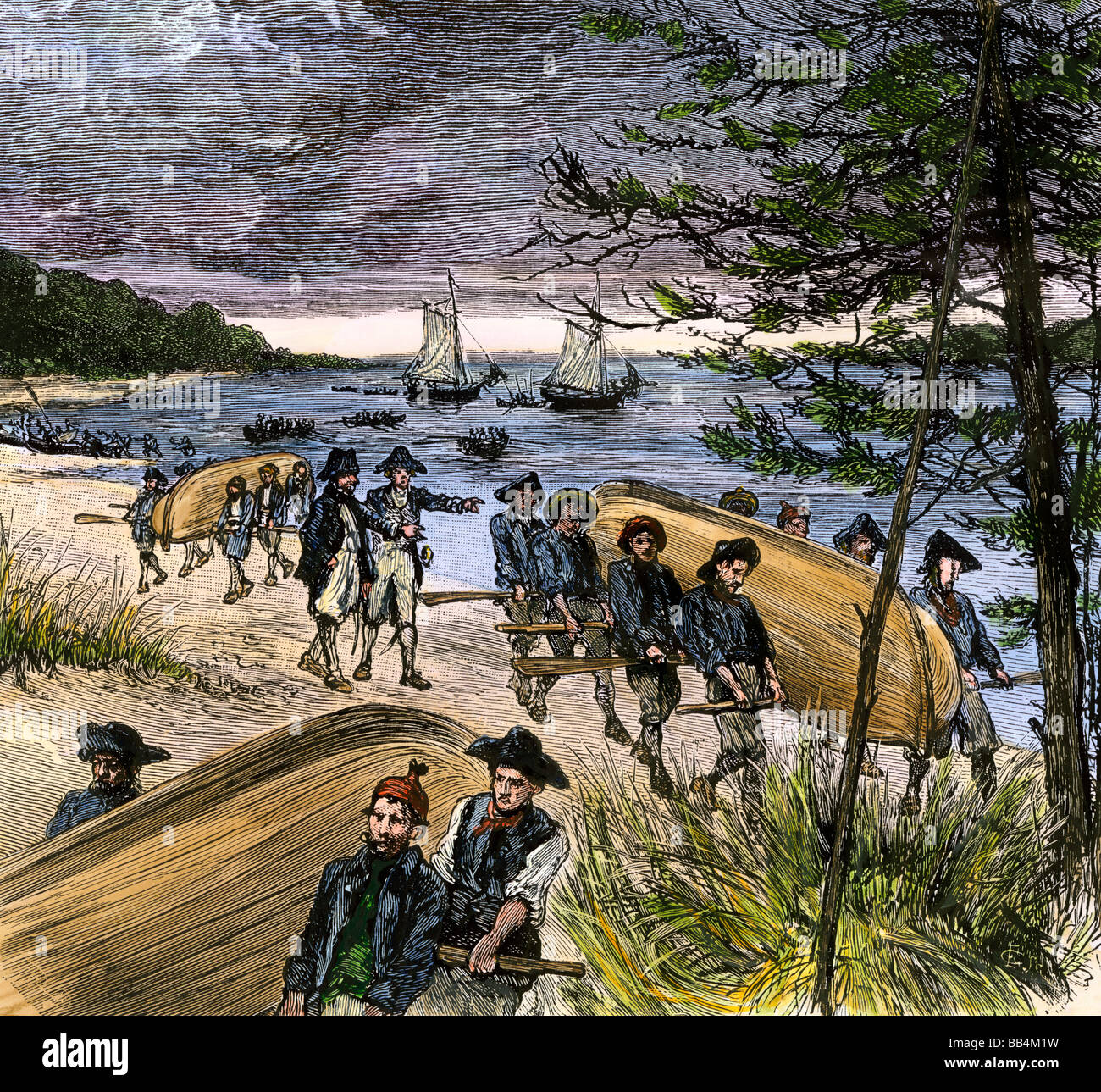 Rhode Island militia taking Sag Harbor on Long Island from the British during the Revolutionary War - Stock Image