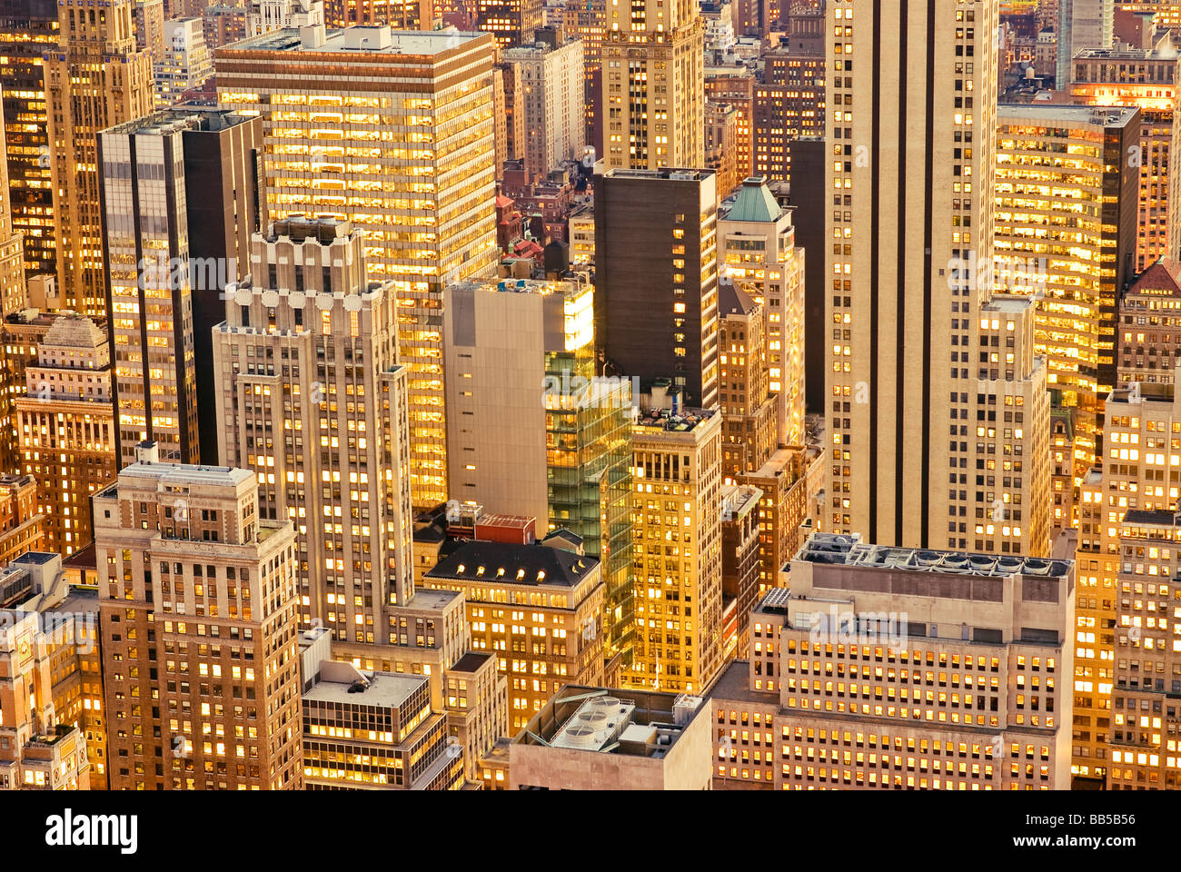 Aerial Manhattan Office Buildings New York City - Stock Image