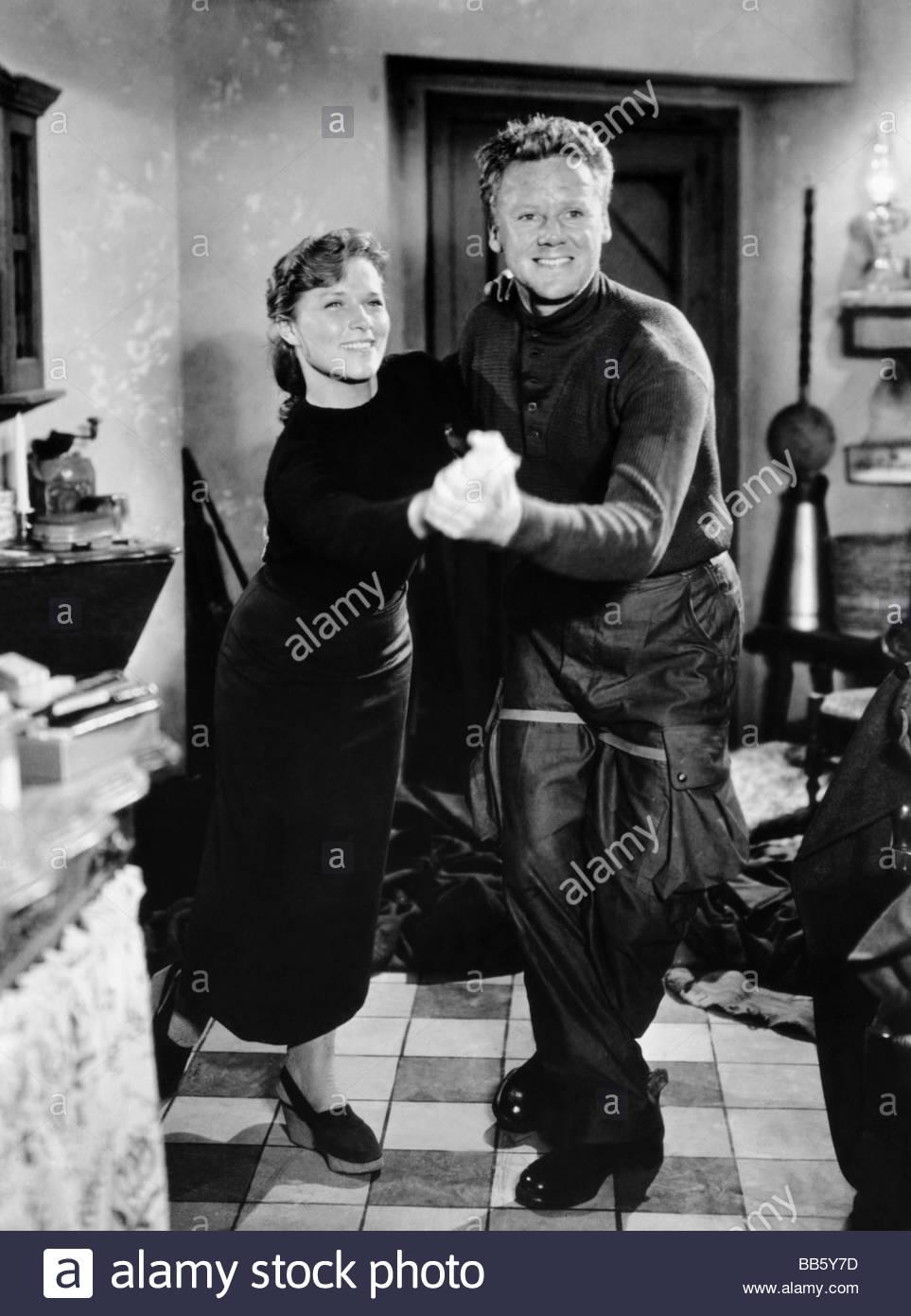 movie, 'Battleground', USA 1949, director: William Wellman, scene with: Denise Darcel, Charles Van Johnson, - Stock Image