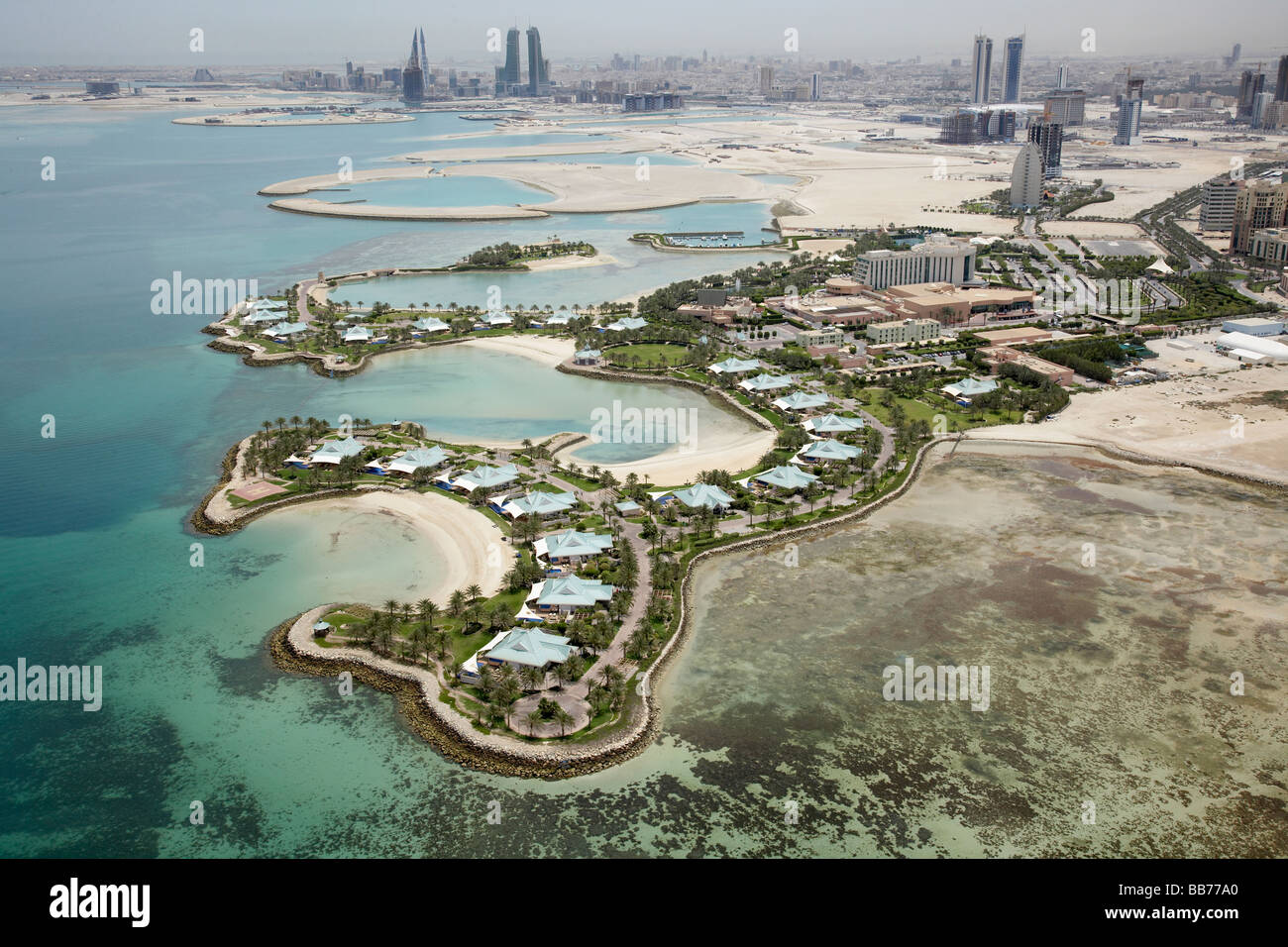 Aerial photograph of the Ritz Carlton Hotel and resort Manama Bahrain - Stock Image
