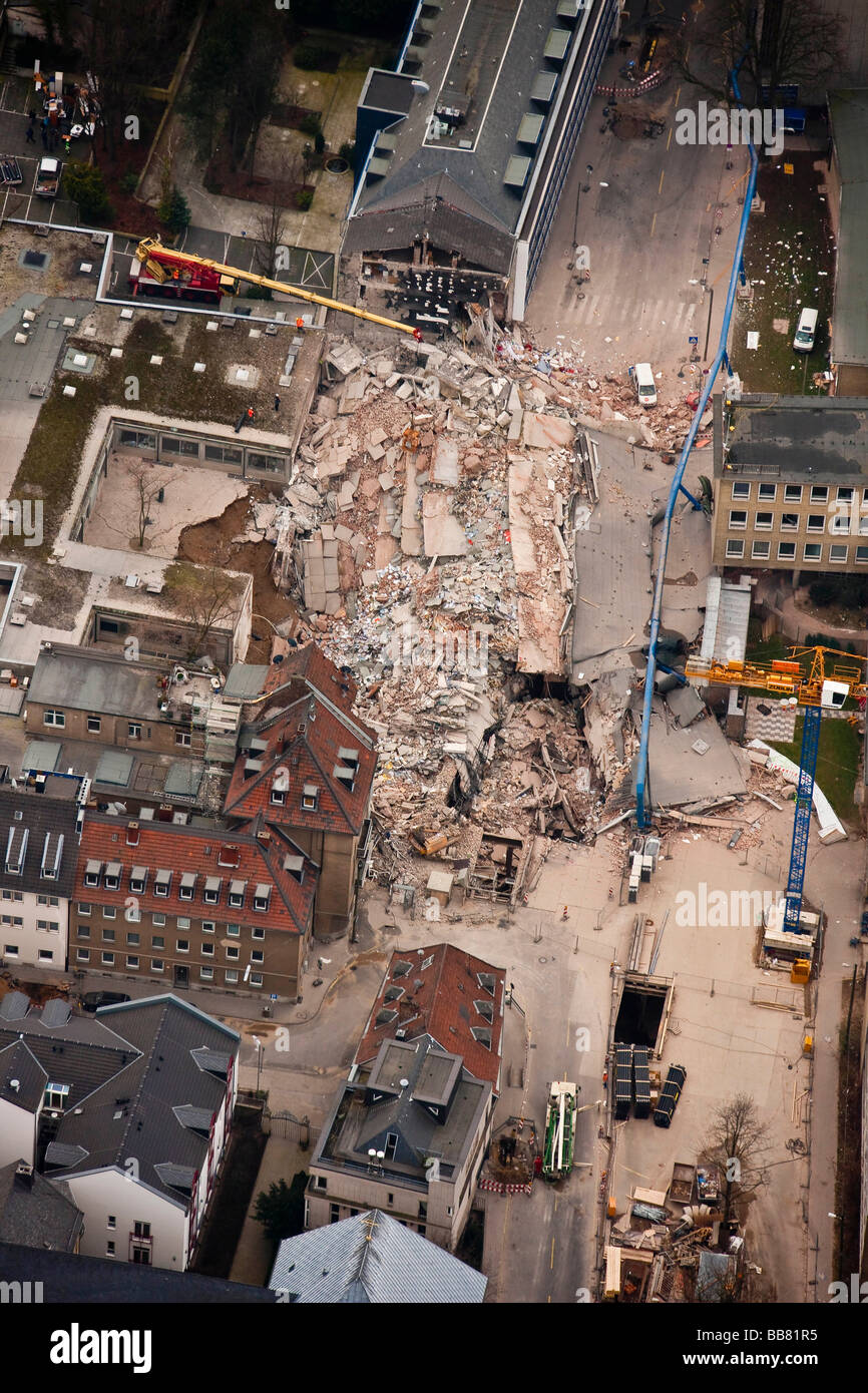 Aerial view, collapse of the Historical Archive of the City of Cologne, Cologne, North Rhine-Westphalia, Germany, - Stock Image
