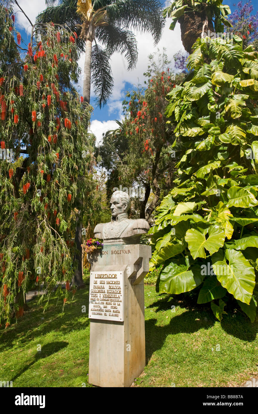 Attractive Monument For Simon Bolivar In Jardim Municipal Gardens, Funchal, Madeira,  Portugal   Stock
